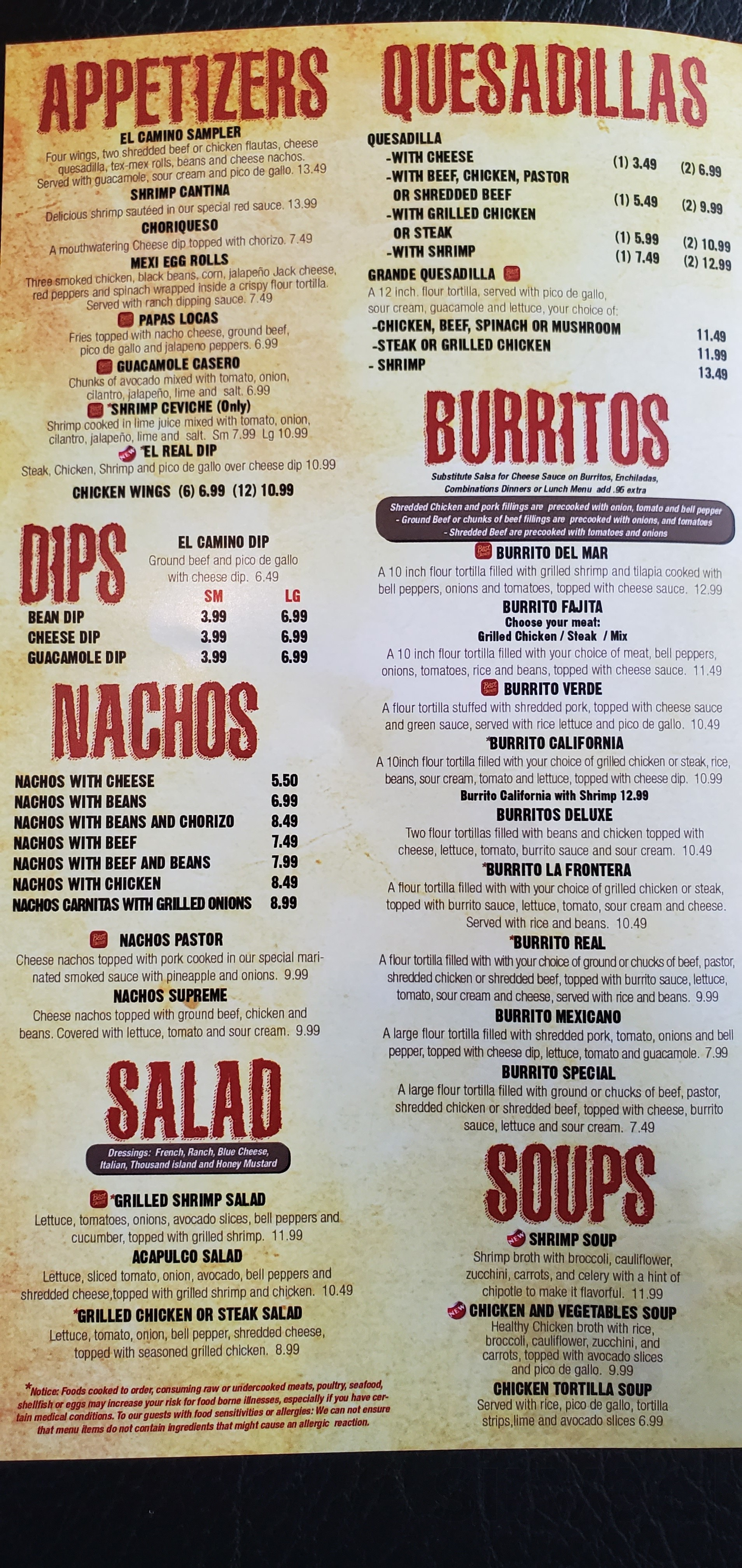 Camino Real Authentic Mexican Restaurant Menu In Dickson Tennessee