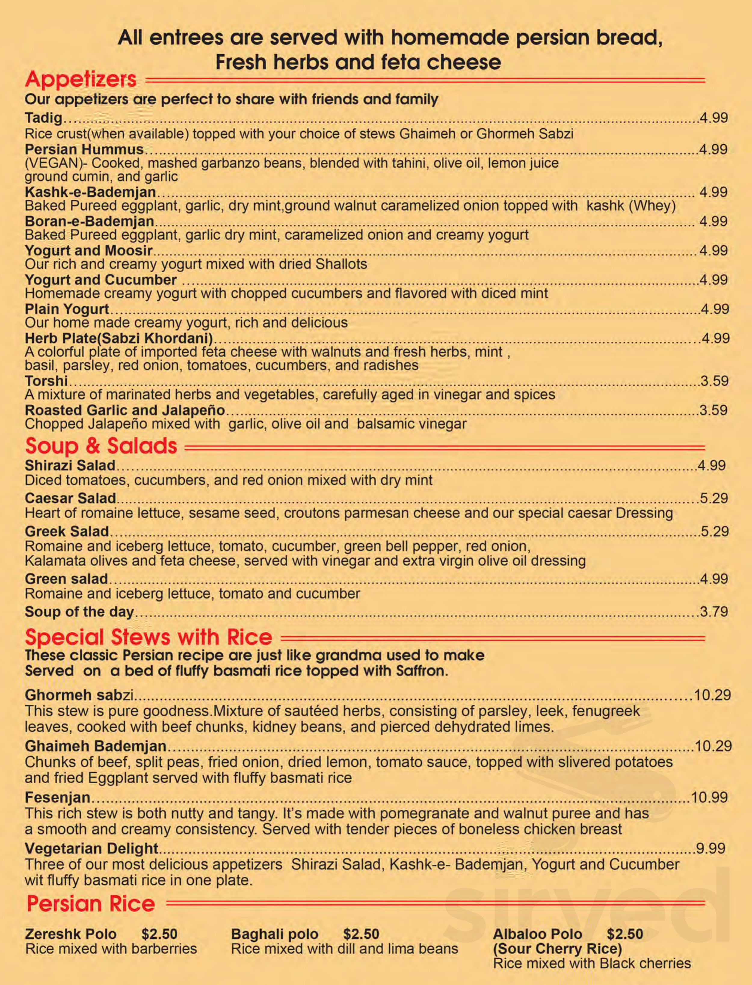 Menu For Avesta Persian Grill In Houston Texas Usa