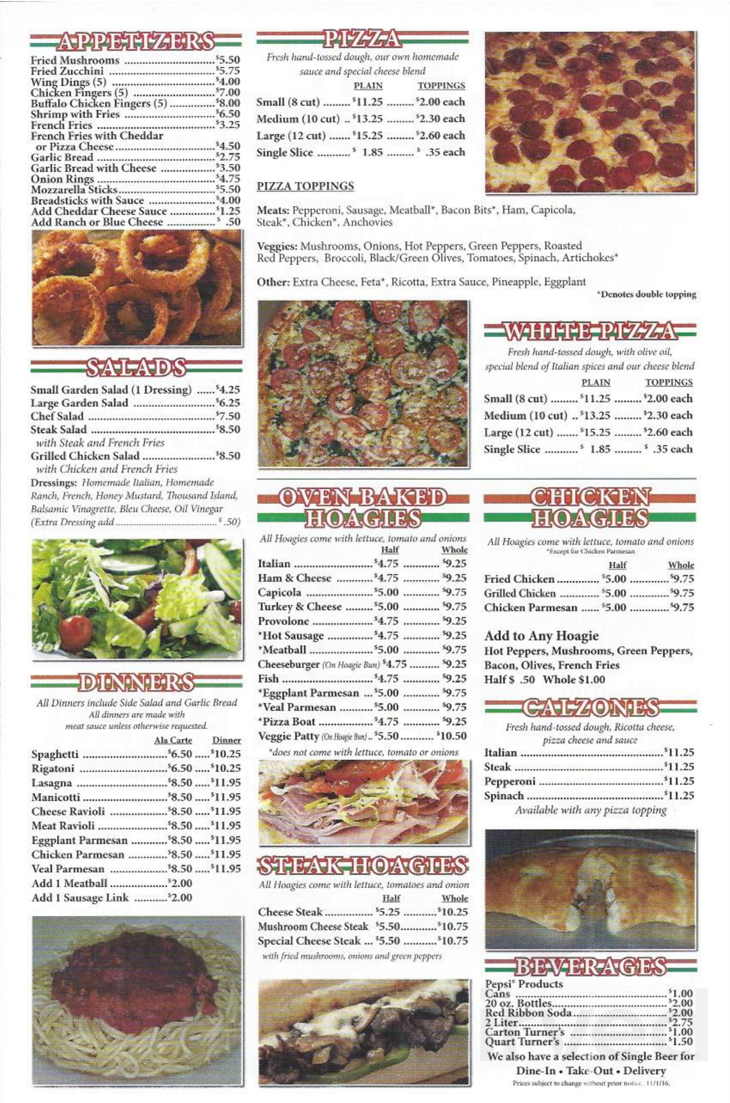 Napoli Pizzeria Menu In Pittsburgh Pennsylvania Usa