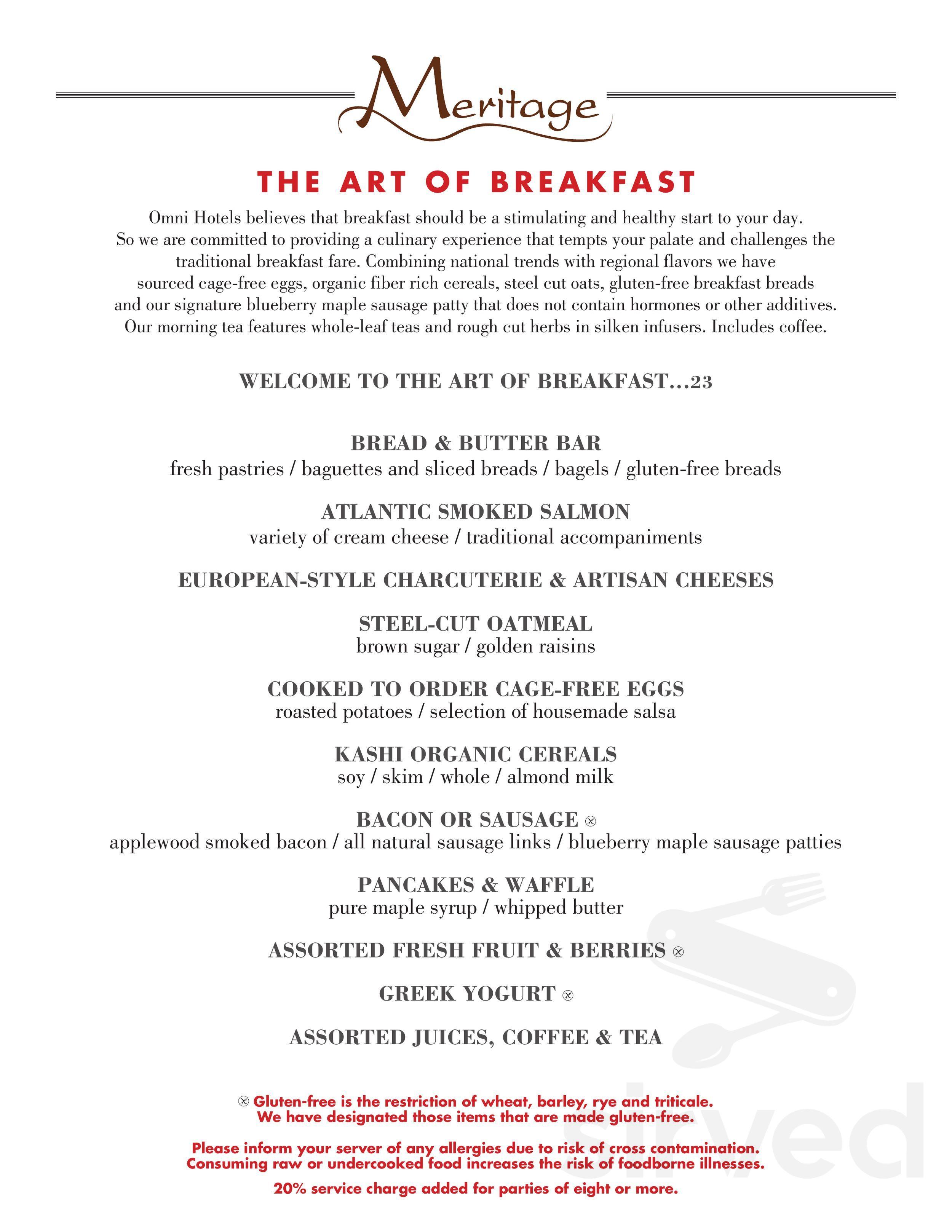 Menu For Meritage Restaurant In Broomfield Colorado Usa