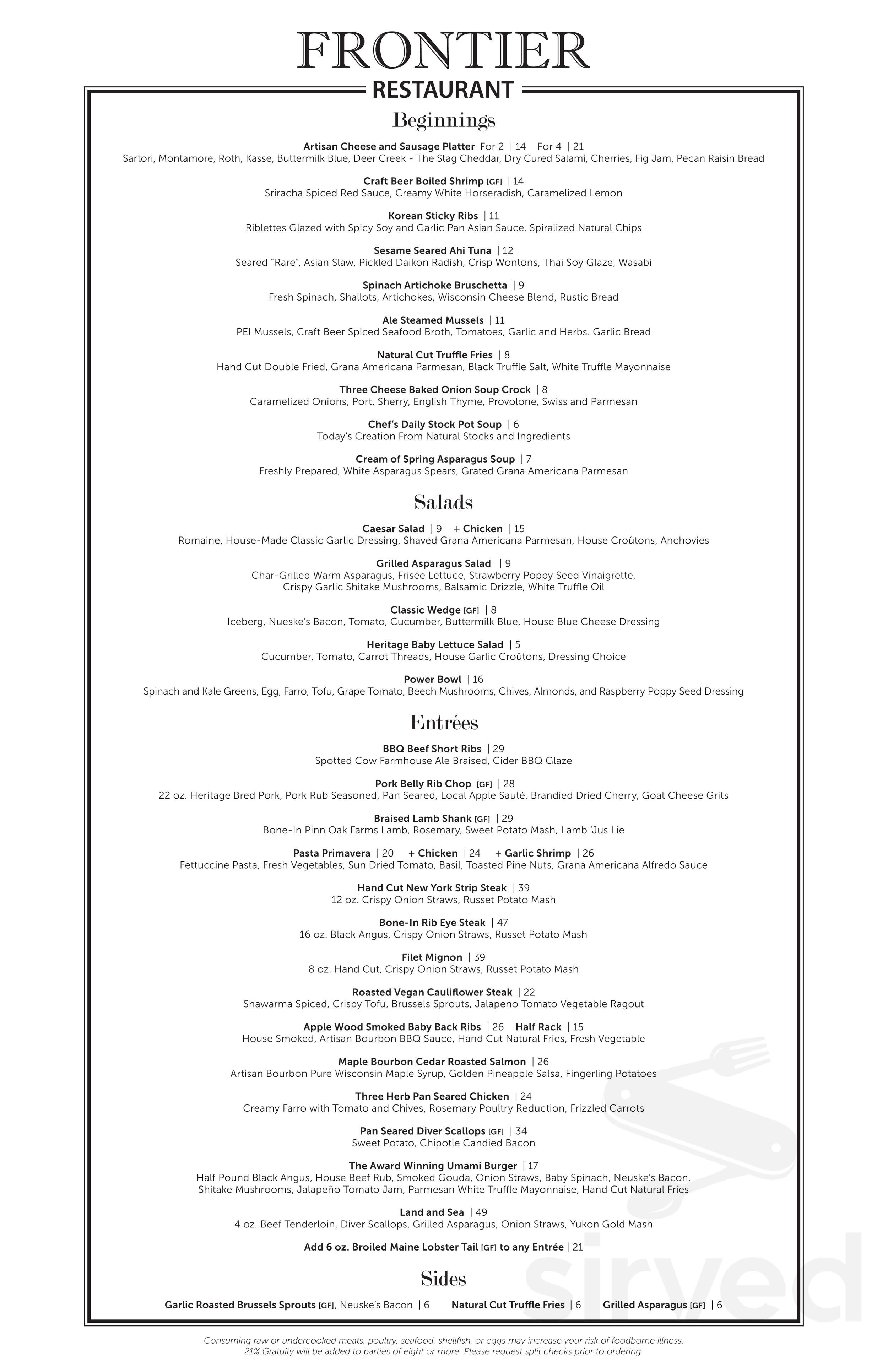 The Frontier Restaurant Menu In Delavan Wisconsin Usa