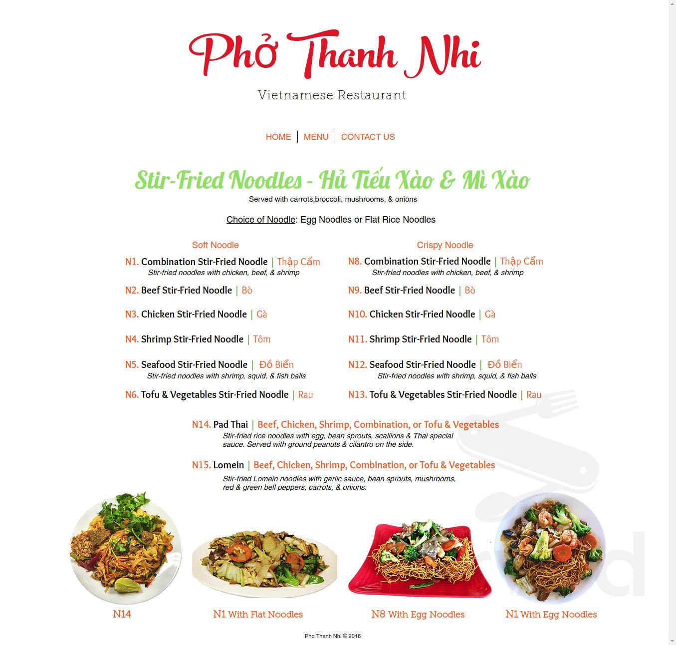 Pho Thanh Nhi Menu In Cedar Park Texas Usa