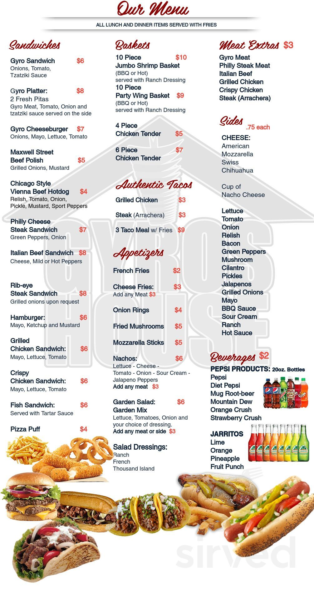 Euro Gyro Menu / Come try our mediterranean and american cuisine here at gyro gyro in dunwoody, georgia!