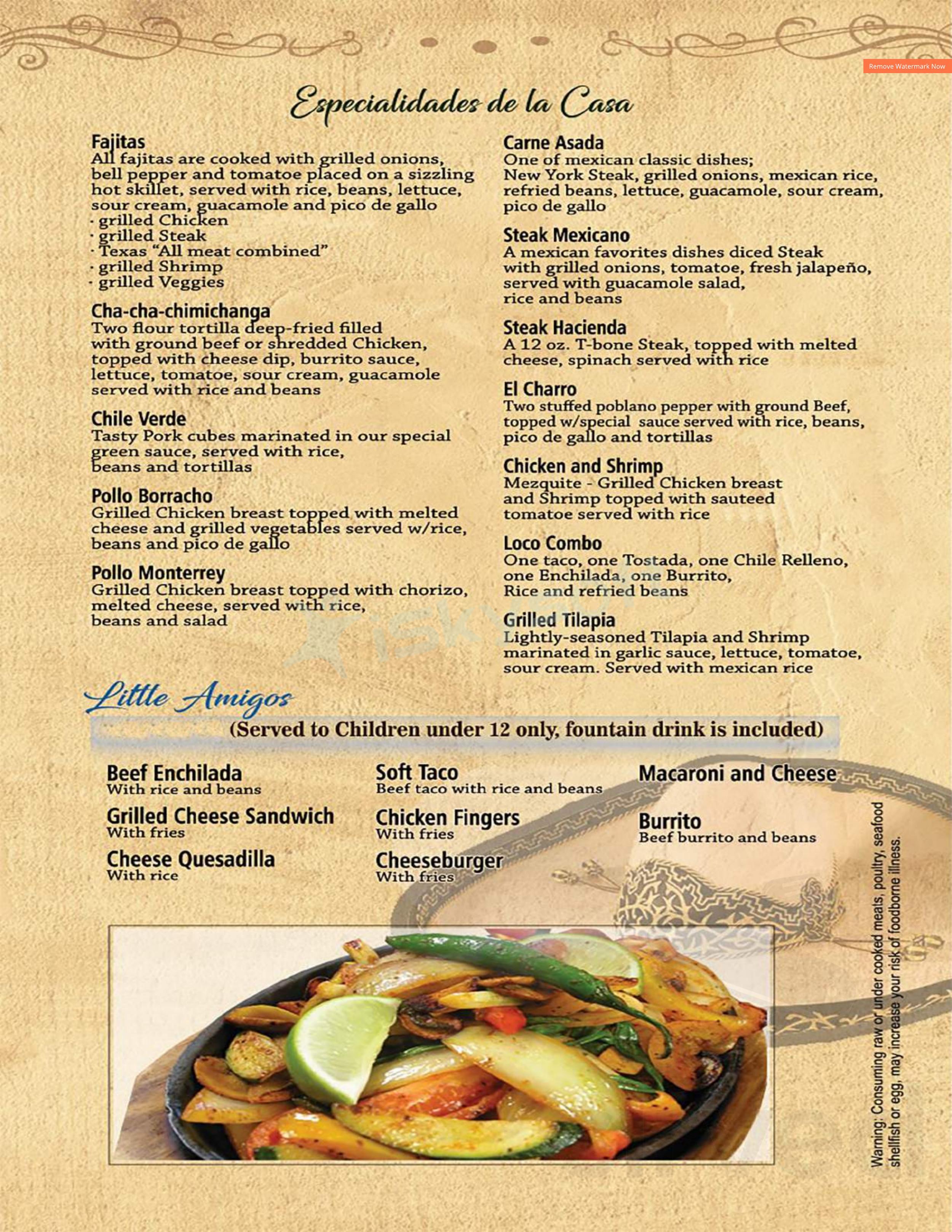 Habanero S Mexican Grill And Bar Menu In Bradenton Florida Usa