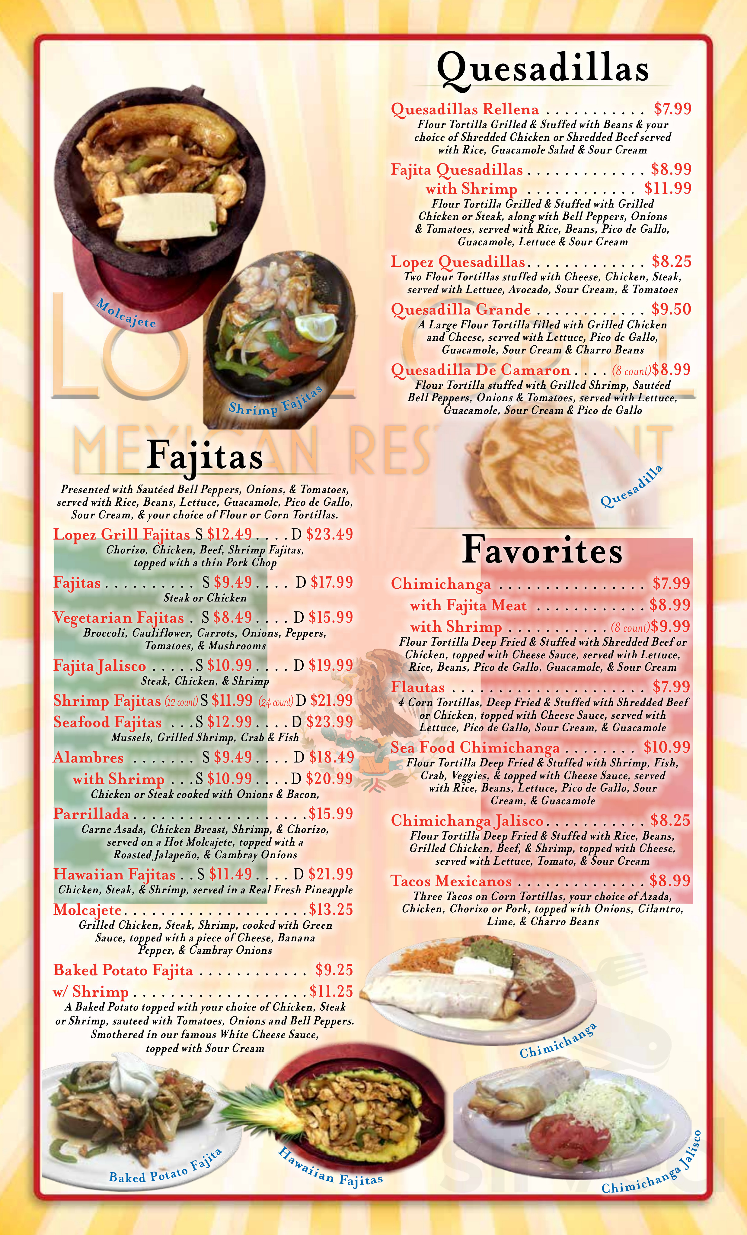 Menu For Lopez Grill Mexican Restaurant In Muskogee Oklahoma