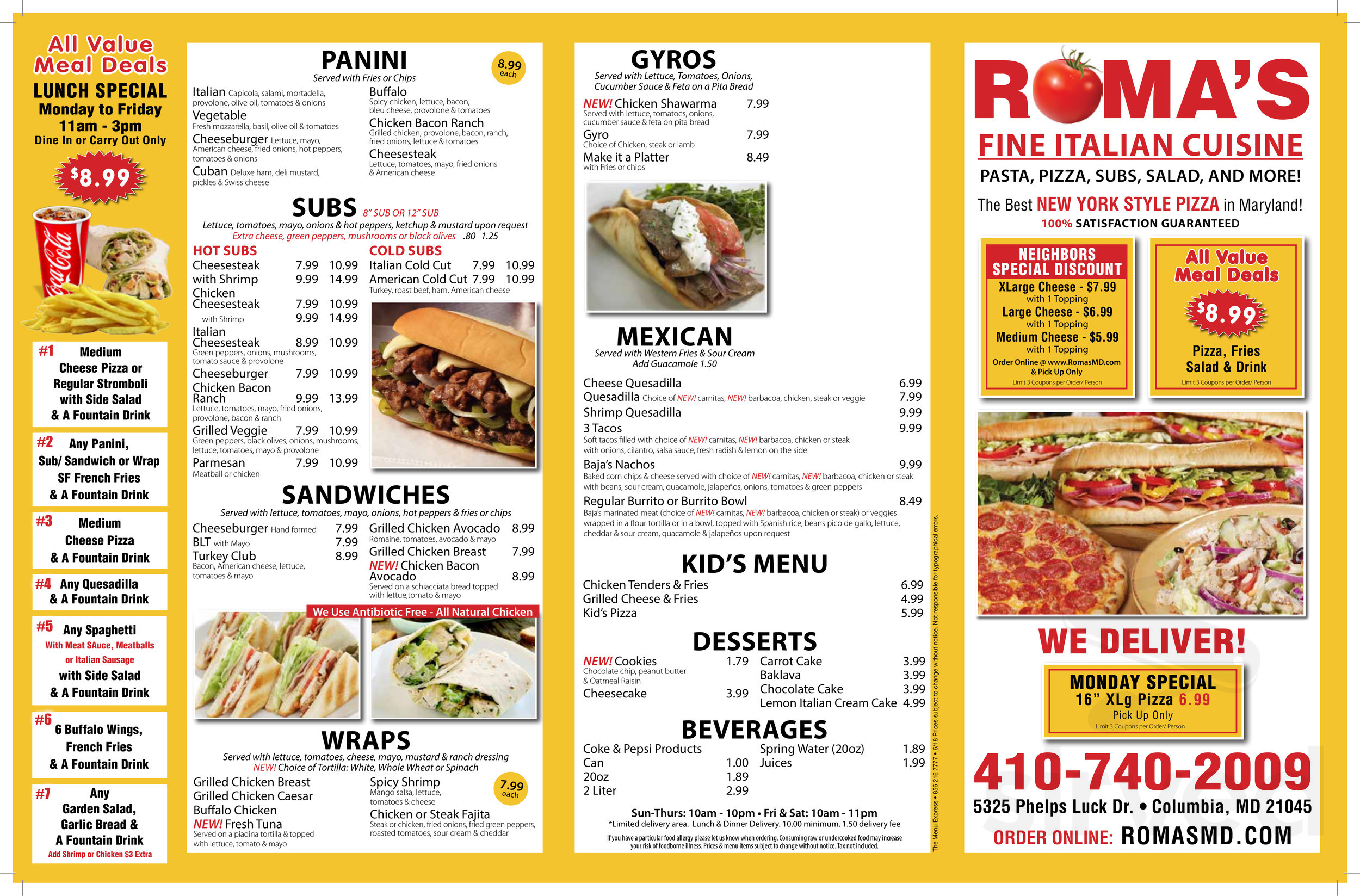 Roma's Pizza, Subs & Pasta menu in Columbia, Maryland