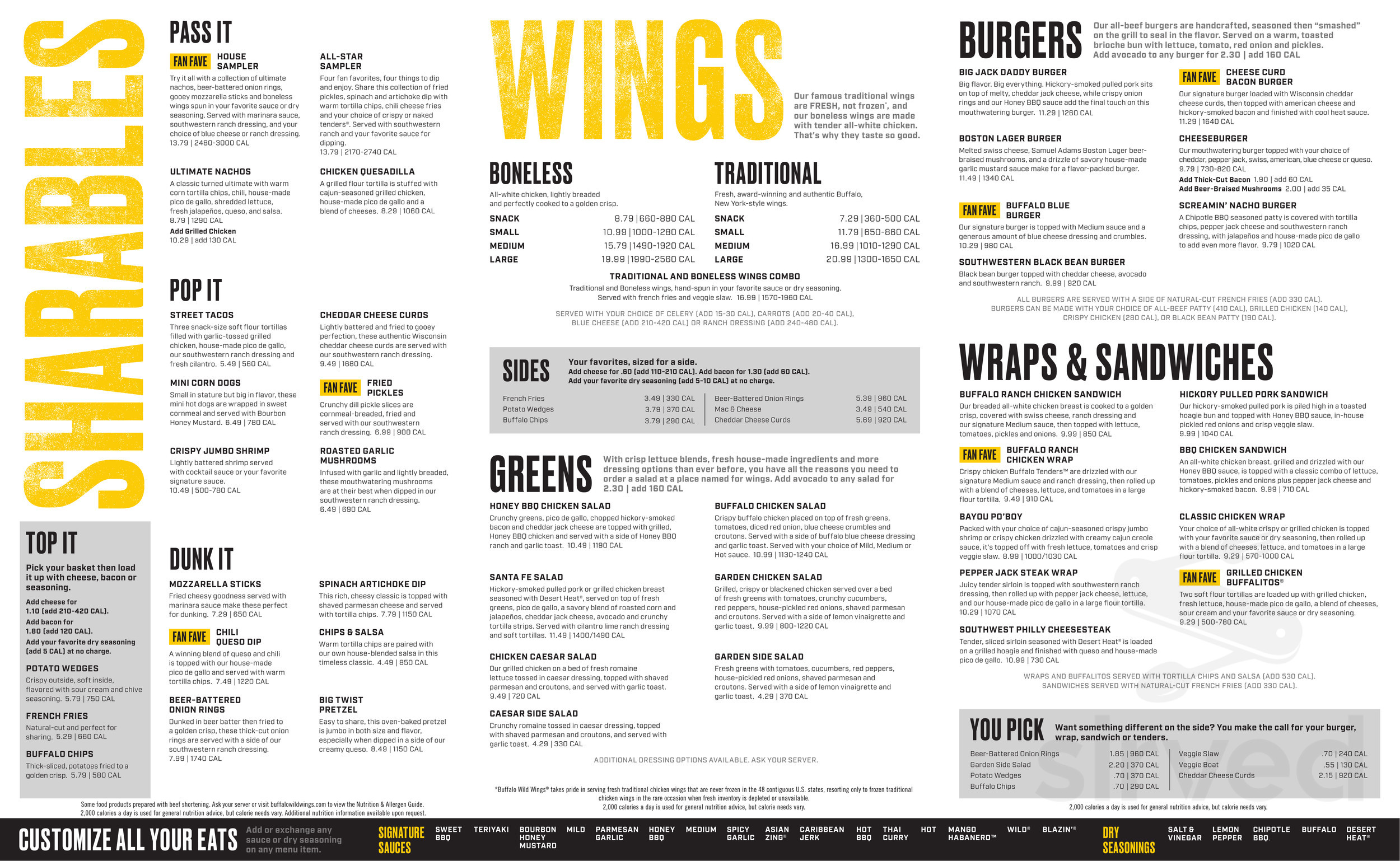 Menu for Buffalo Wild Wings in Rancho Cucamonga, California