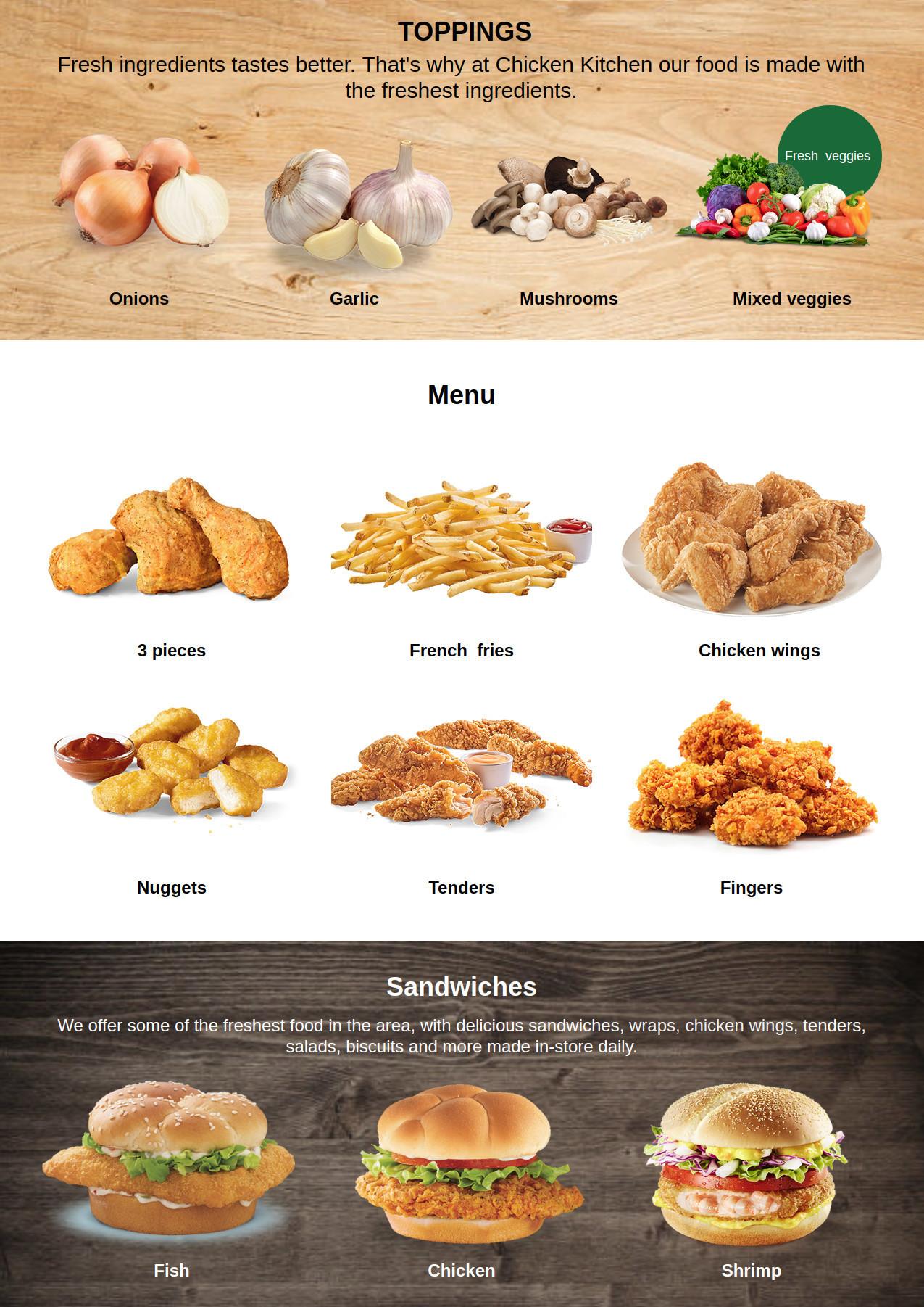 Menu for chicken kitchen main menu page 1 of 1