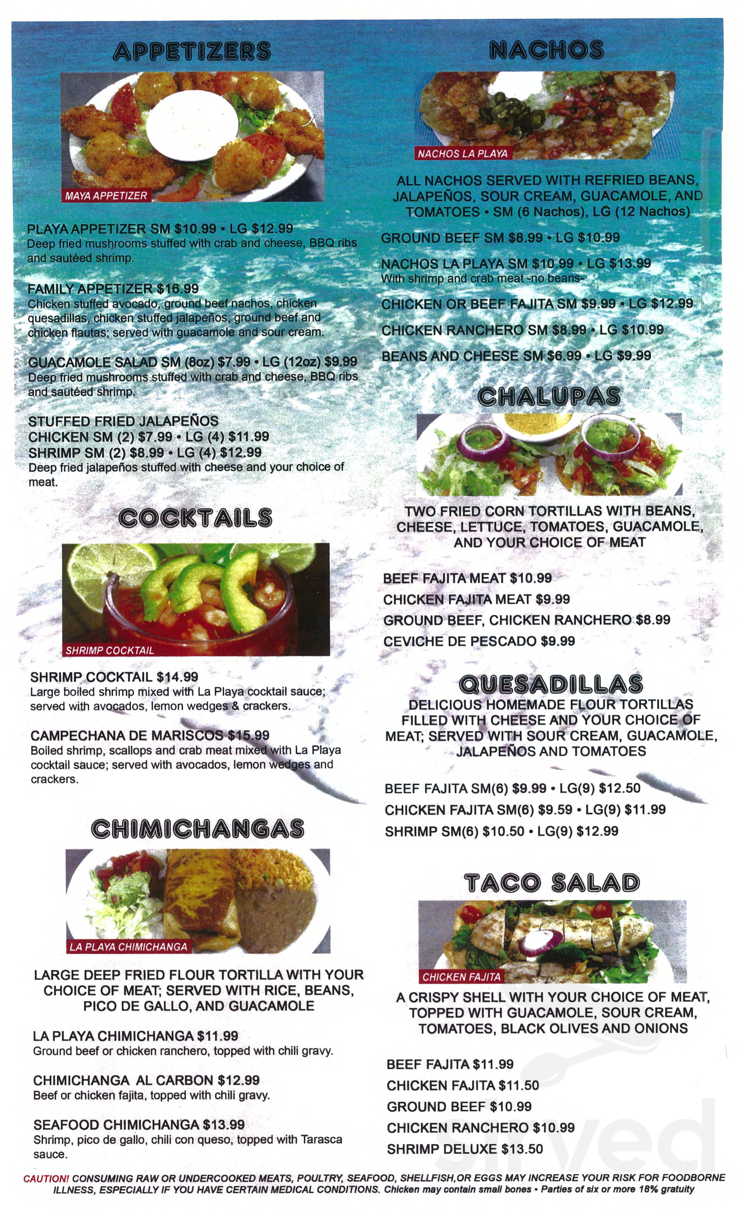 Menu For La Playa Mexican Restaurant Cantin In Corpus