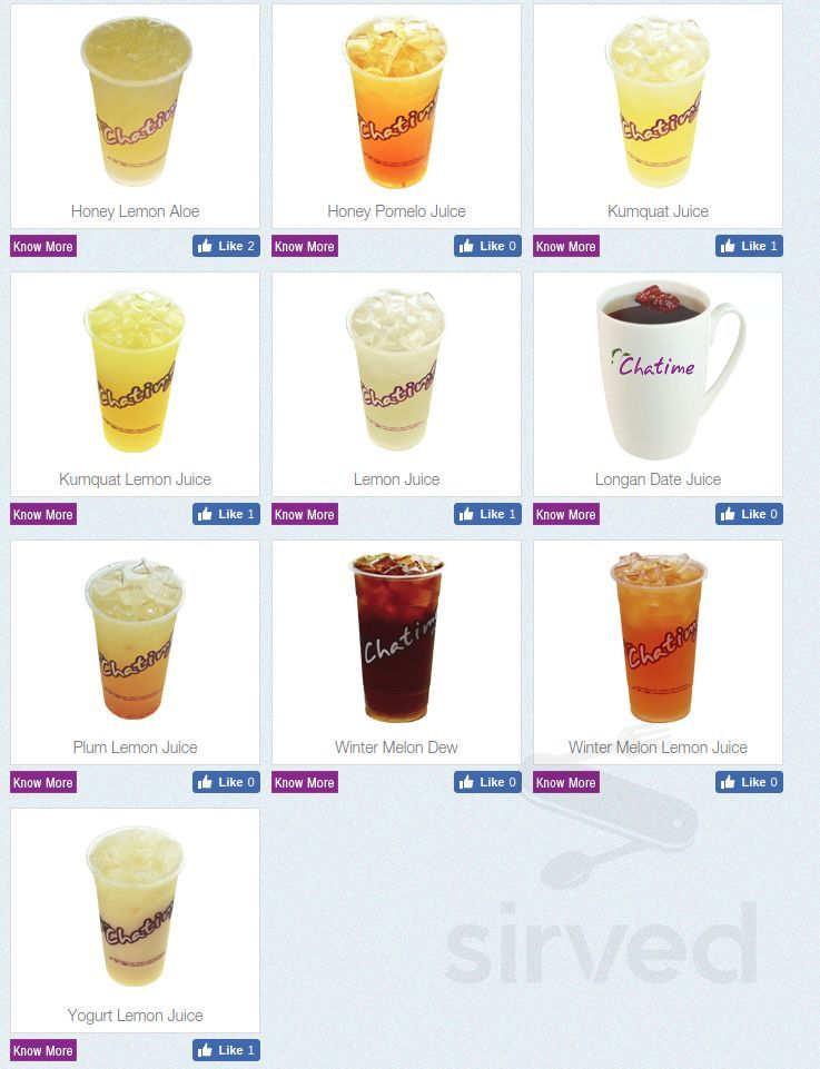 Menu for Chatime & TTNoodle in Chicago, Illinois, USA