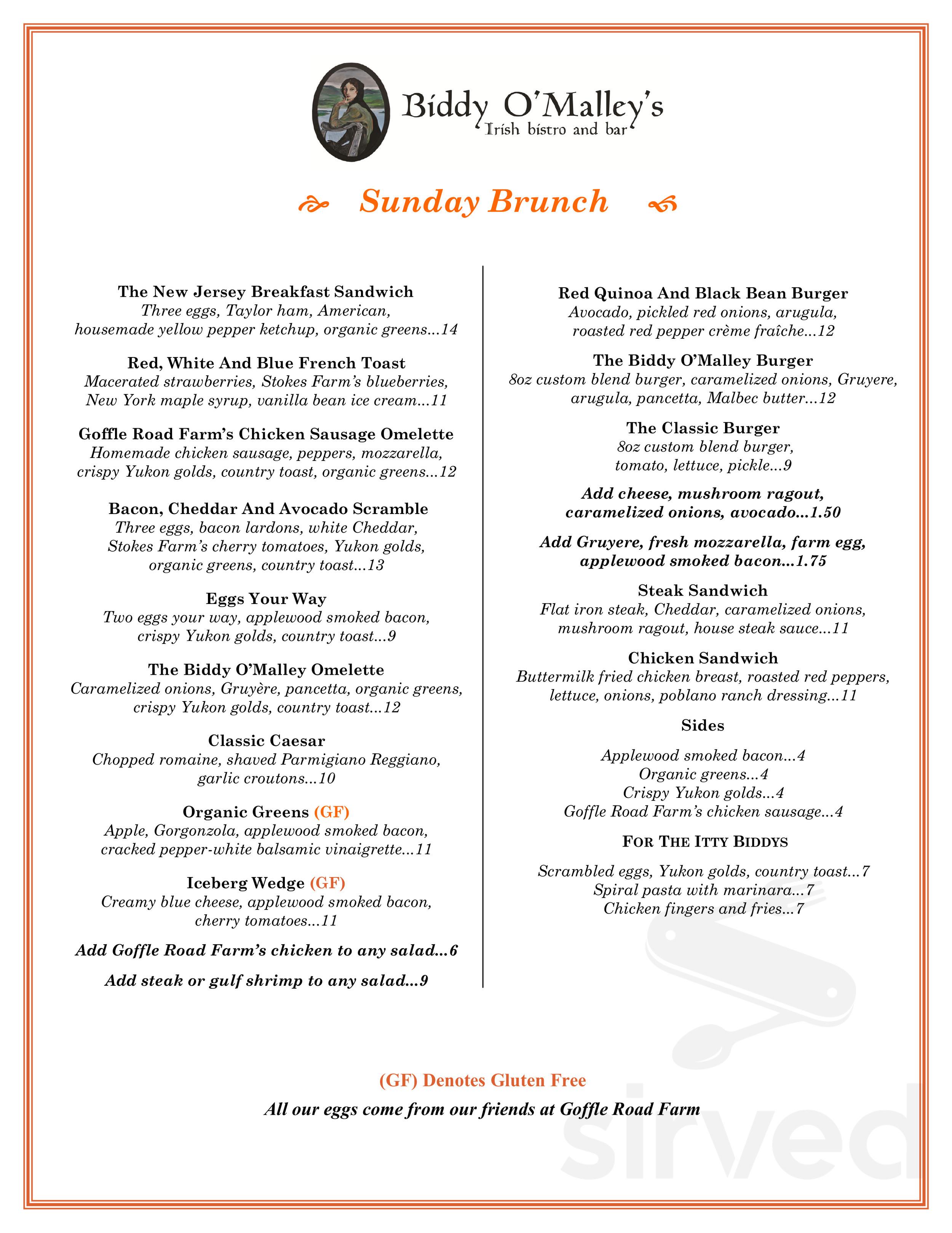 Biddy O Malley S Irish Bistro And Bar Menu In Northvale New Jersey