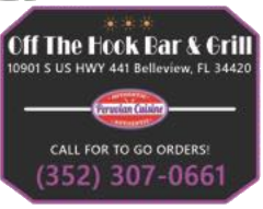 Menu for Off the Hook Bar and Grill in Belleview, Florida