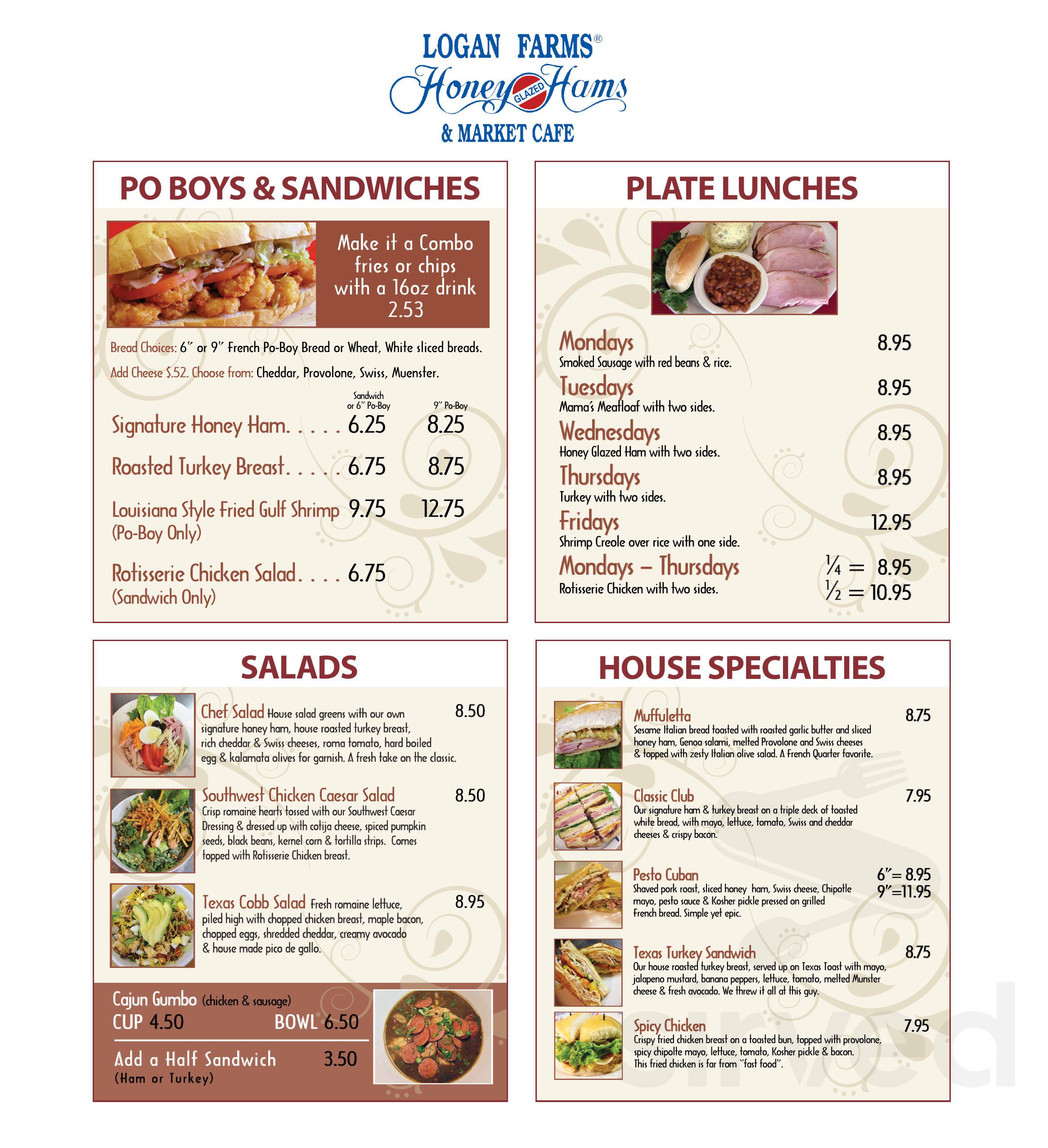 Logan Farms Honey Glazed Hams Market Café Menu In Houston Texas