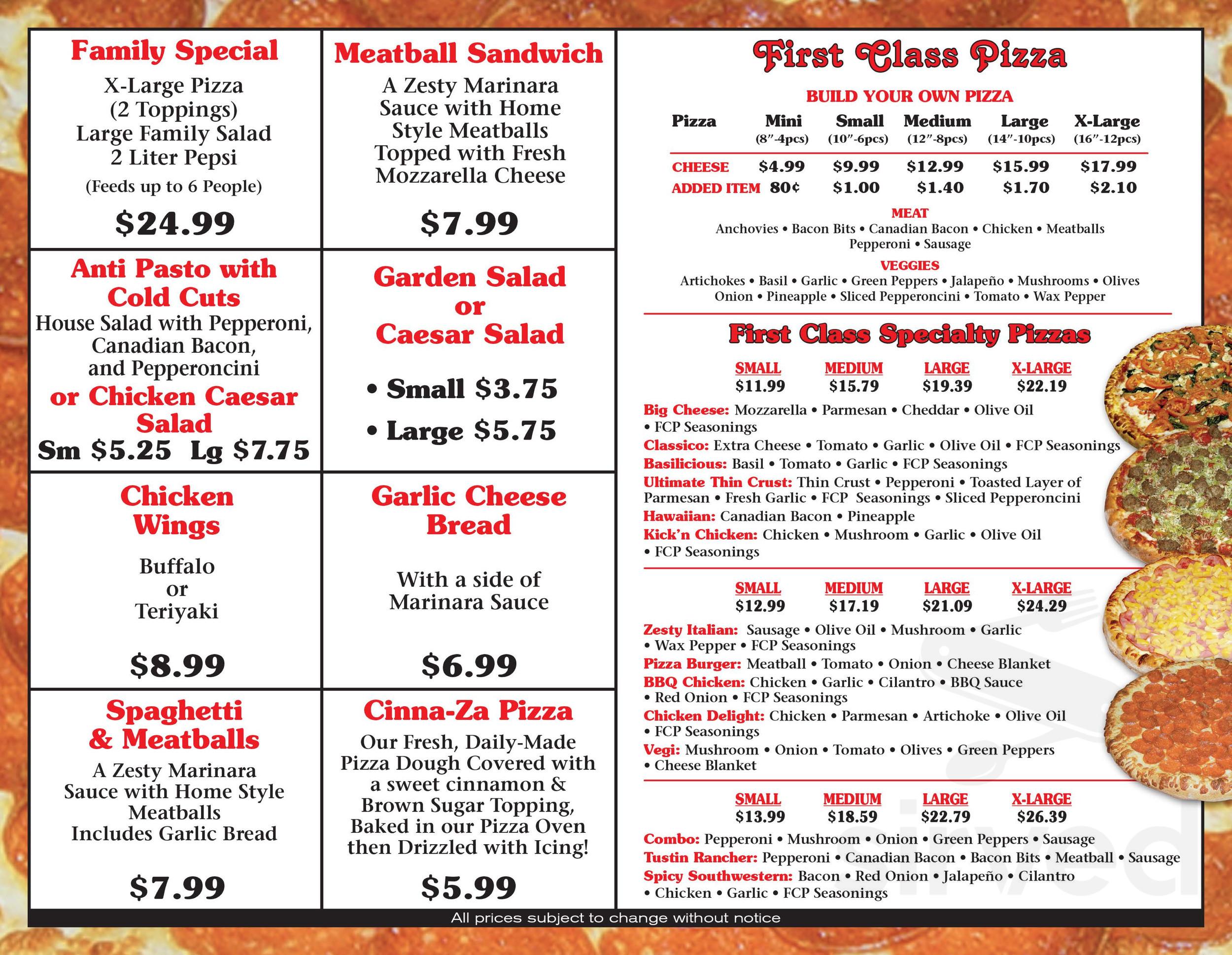 Menu For First Class Pizza In Tustin California Usa