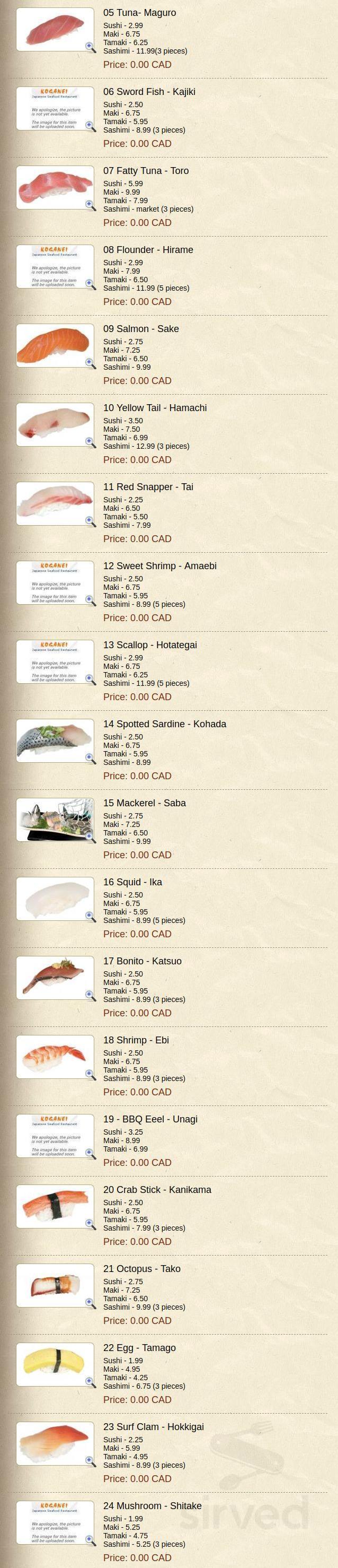 Menu for Koganei Japanese Seafood Restaurant in Woodbridge, Ontario
