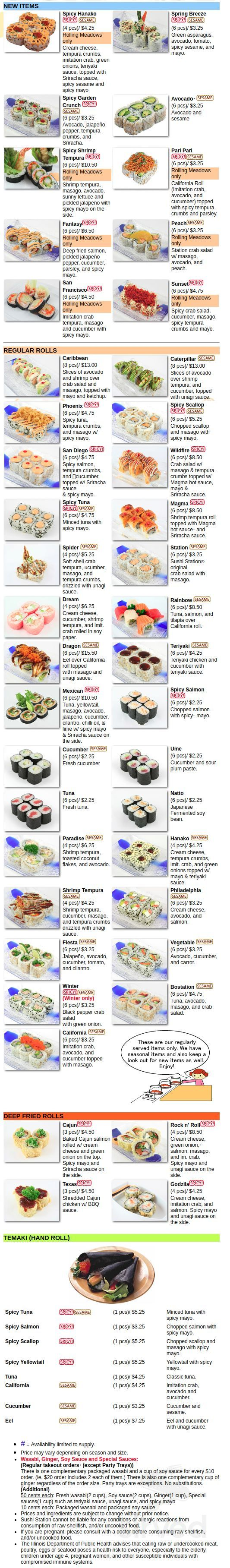 Sushi Station Menu In Rolling Meadows Illinois Usa The process took 1 day. sushi station menu in rolling meadows