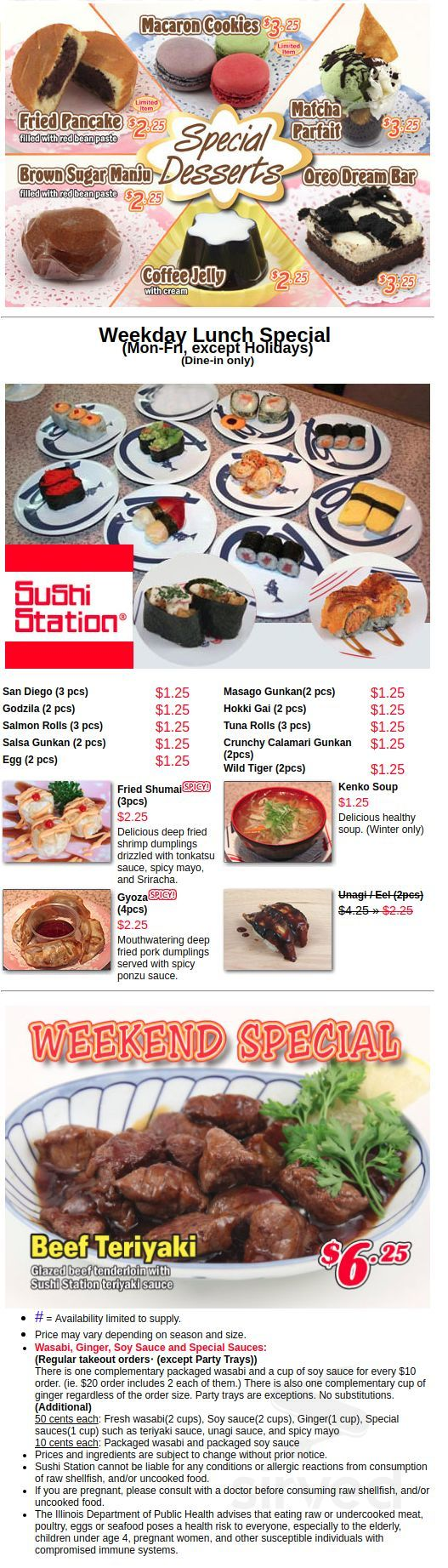 Sushi Station Menu In Rolling Meadows Illinois Usa Locate your favorite store in your city. sushi station menu in rolling meadows