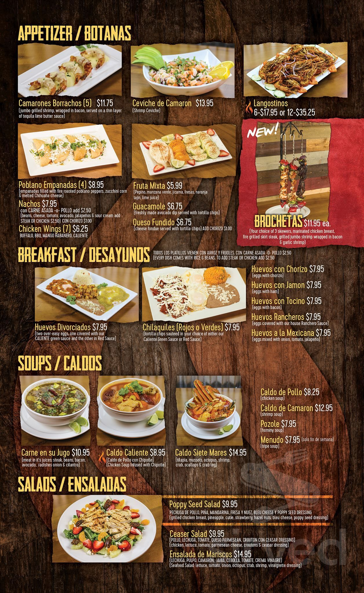 Menu For Caliente Mexican Grill Bar In Midlothian Illinois
