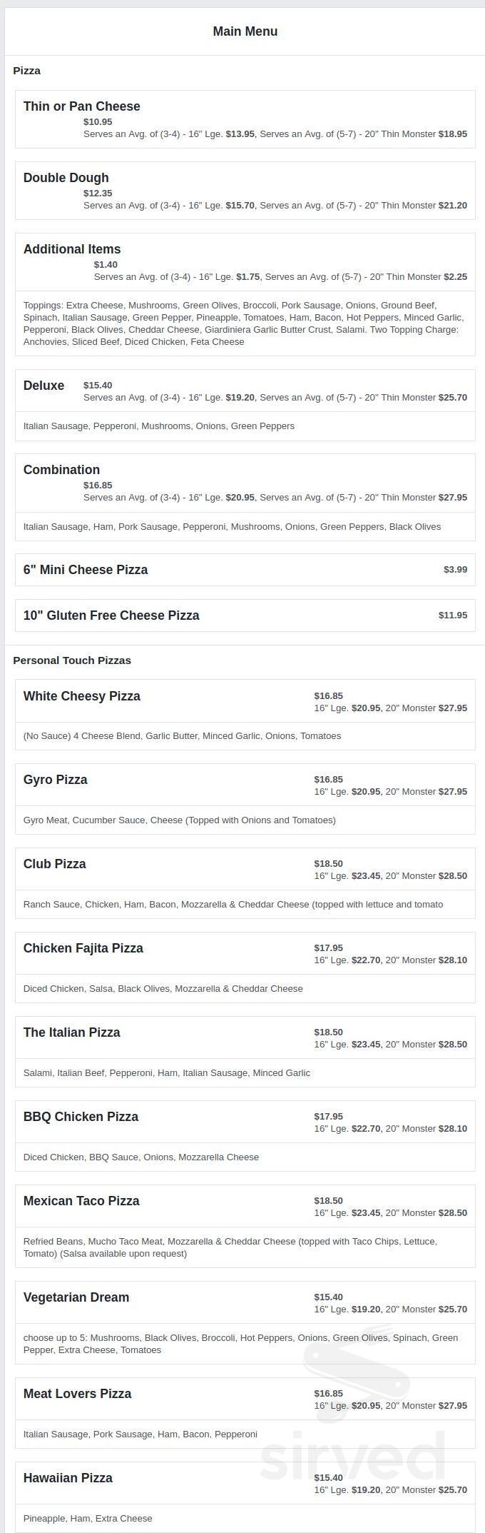 Menu For Pizza For U In Channahon Illinois Usa