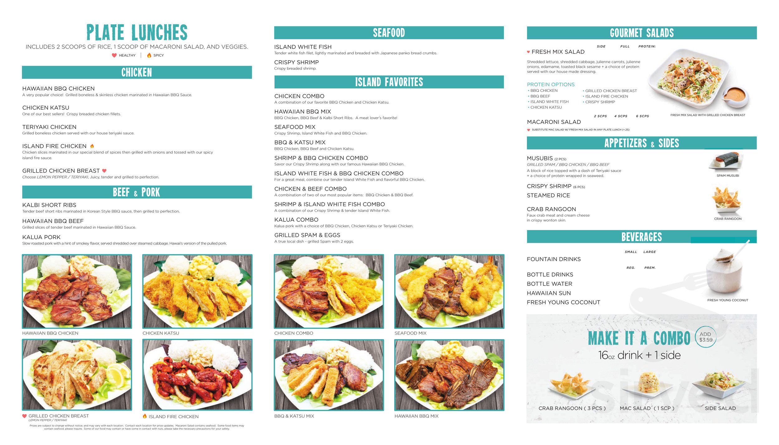 Ono Hawaiian BBQ menu in Rancho Cucamonga, California, USA