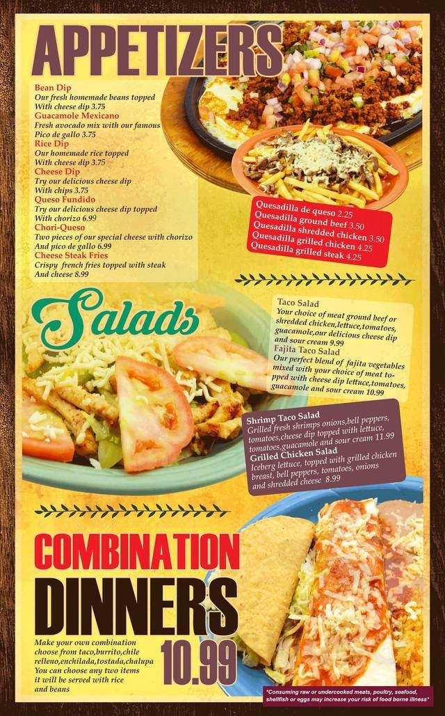 Menu for El Jaripeo Mexican Restaurant in Little Chute