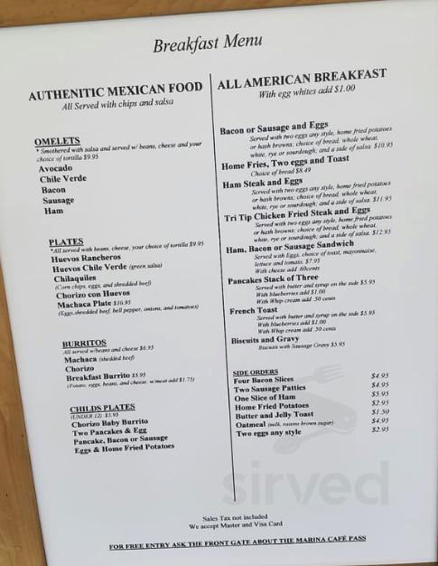 Marina Cafe Menu In Ventura California Usa