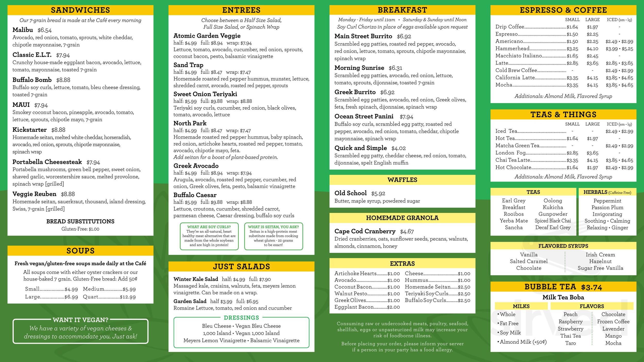 Green Lotus Cafe Menu In Hyannis Massachusetts Usa