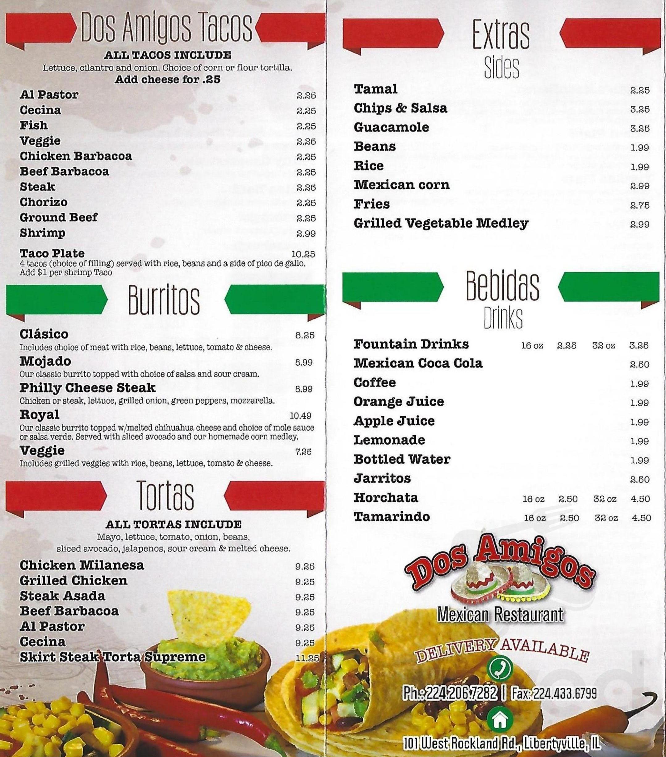 Menu For Dos Amigos Mexican Restaurant In Libertyville Illinois