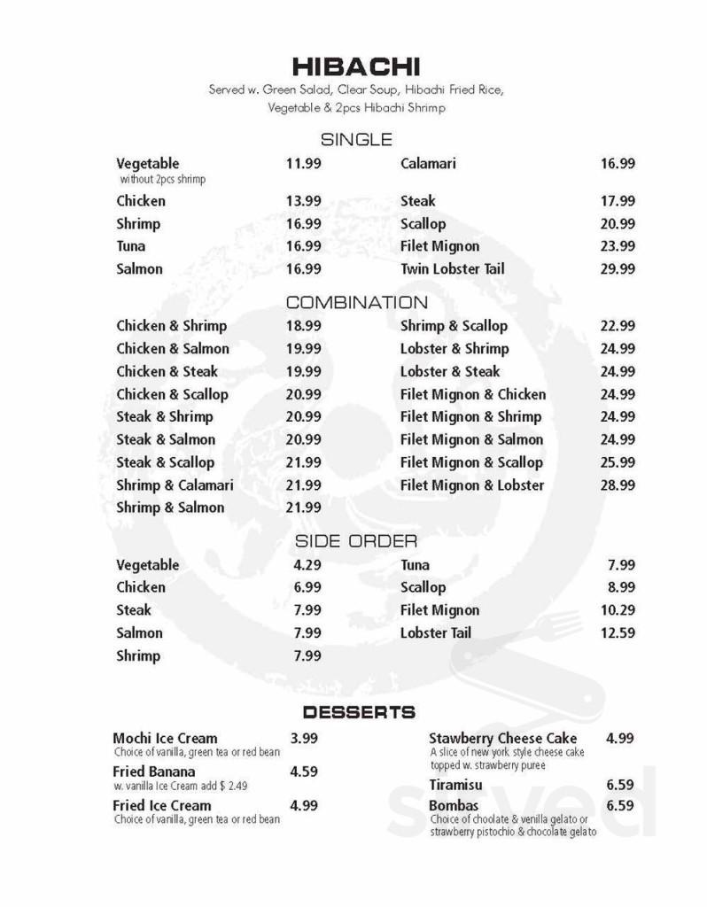 Asia One menu in Fall River, Massachusetts, USA