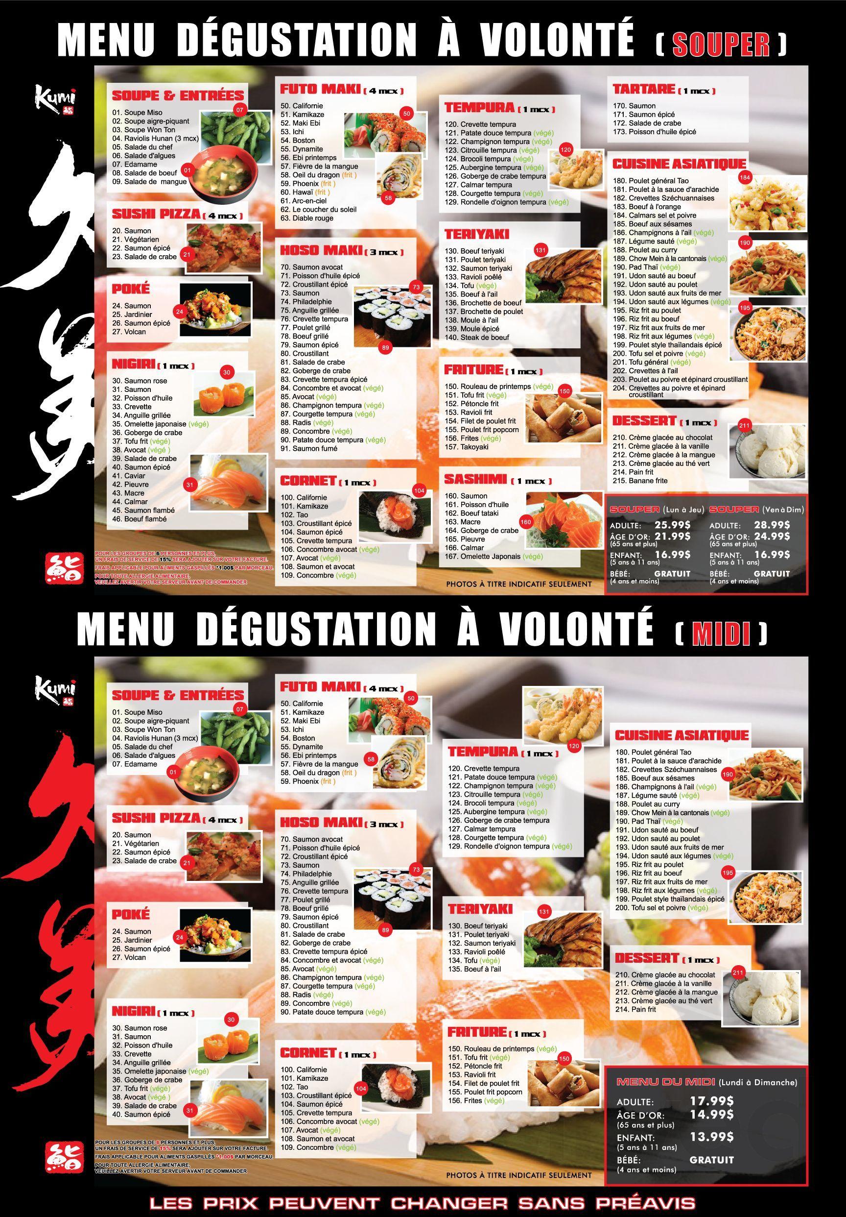 Sushi Kumi Menu In Ville De Quebec Quebec Canada