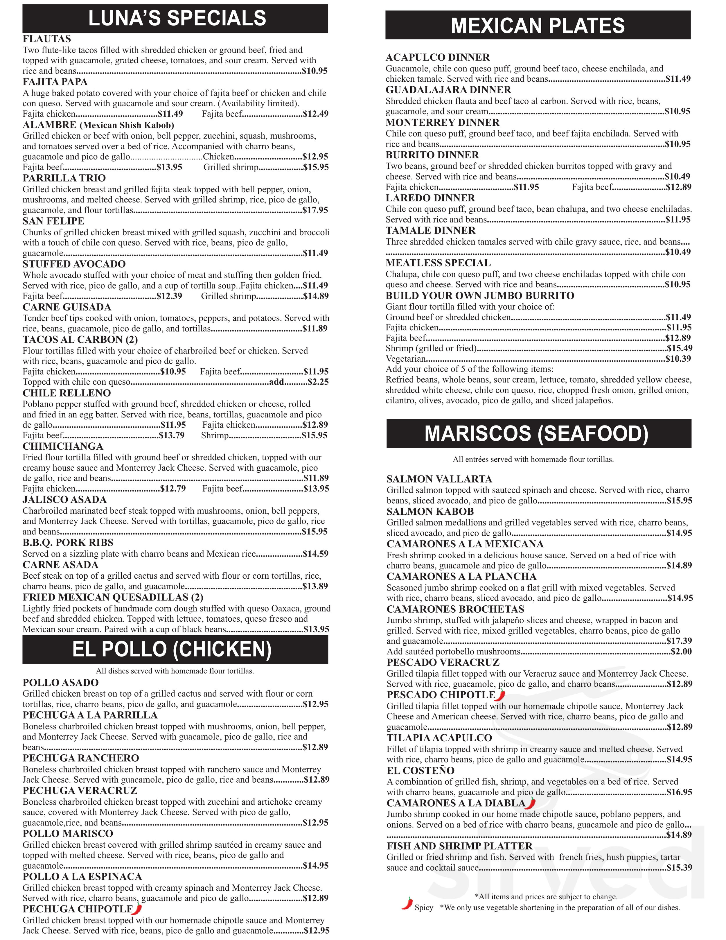Luna S Mexican Restaurant Menu In League City Texas Usa