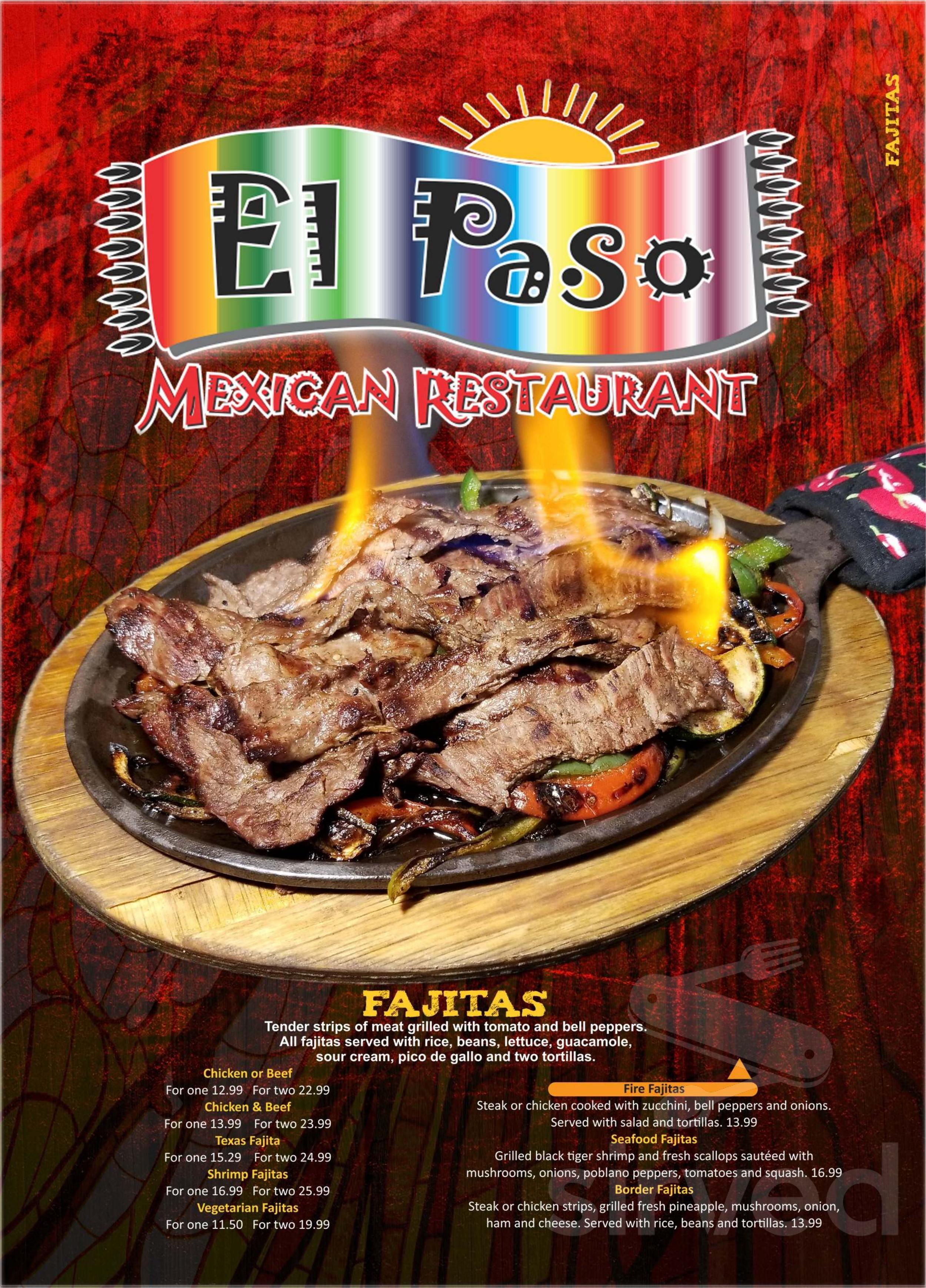 Menu For El Paso Mexican Restaurant In Hendersonville North