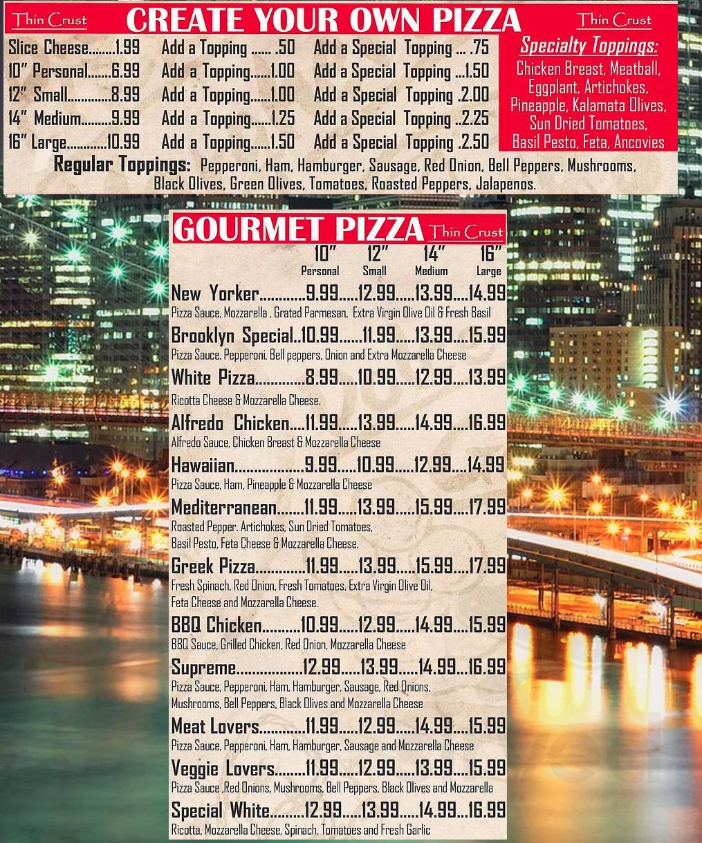 Menu for Ny Pizzeria in Hills, Texas, USA