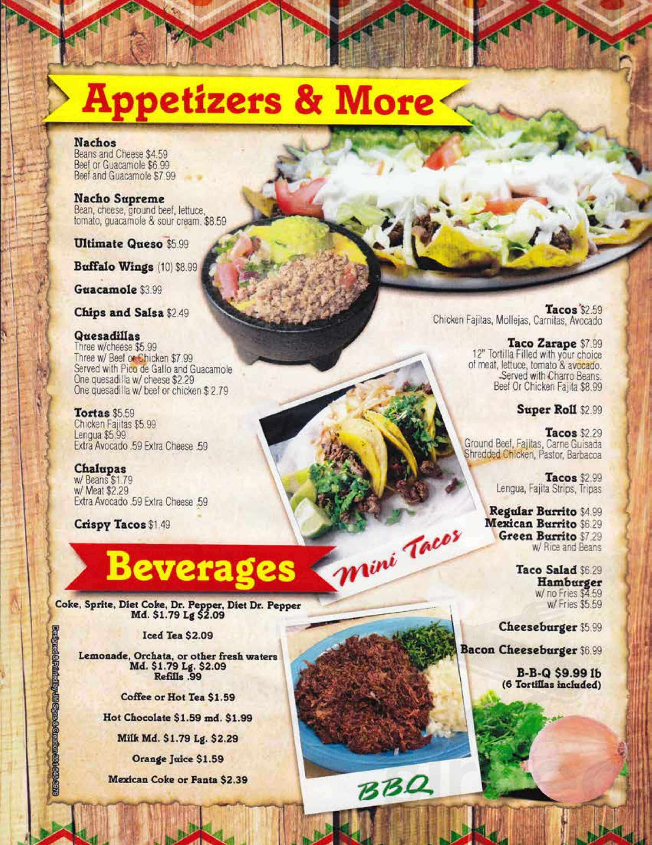 El Mexicano Restaurant Menu In Aransas Pass Texas Usa