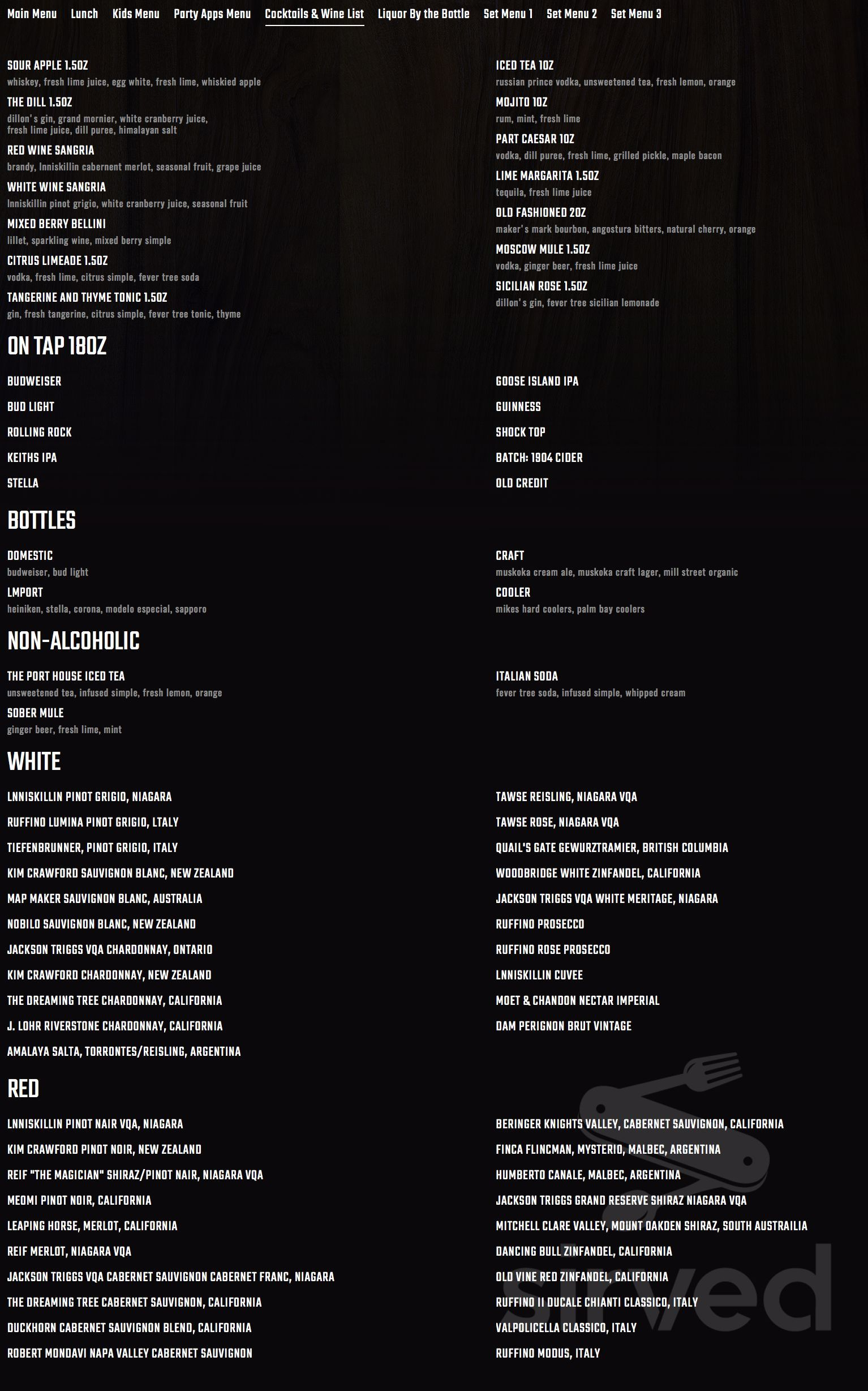 Menu for The Port House Social Bar & Kitchen in Mississauga