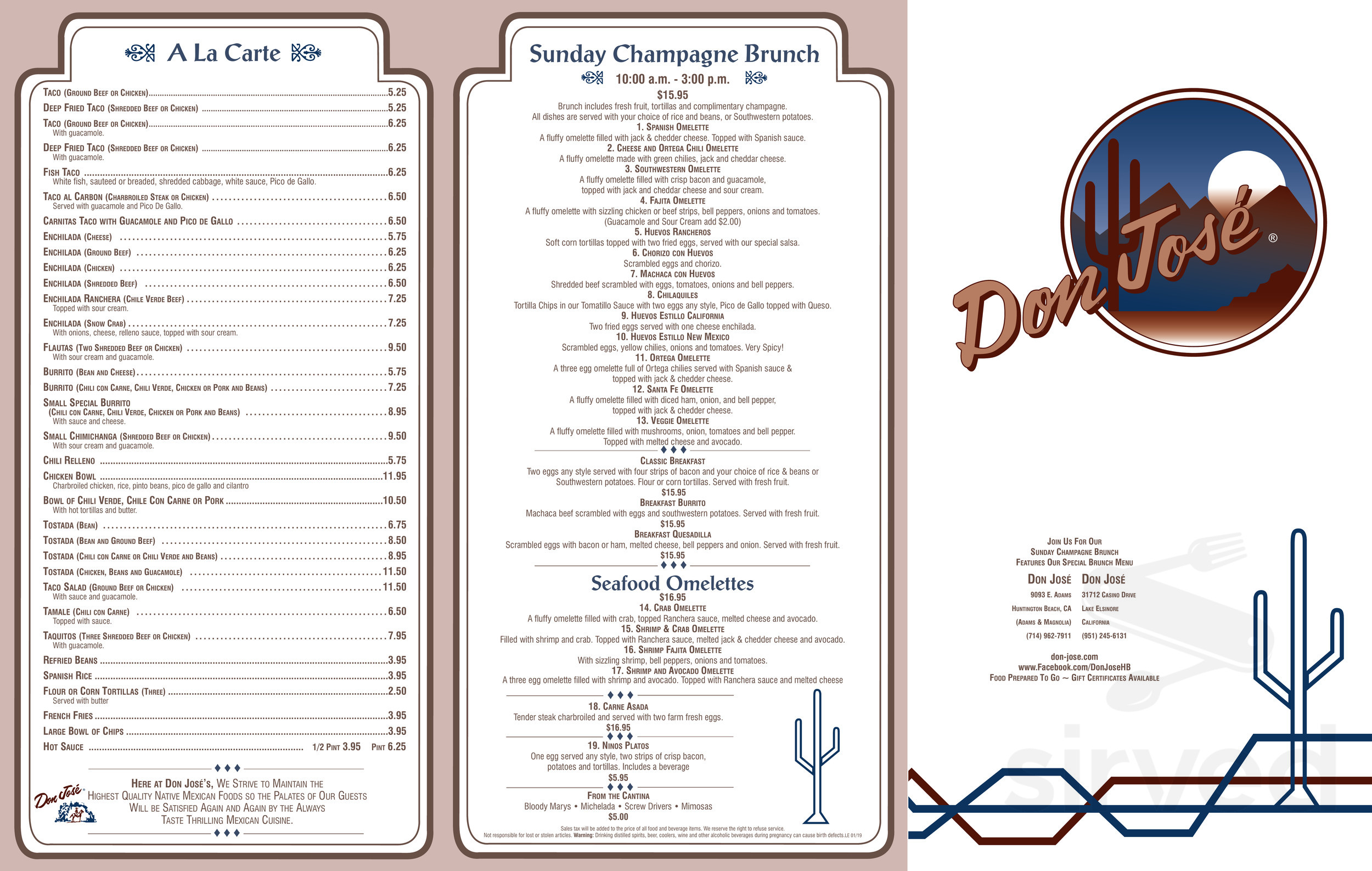 Menu For Don Jose Mexican Restaurant In Lake Elsinore