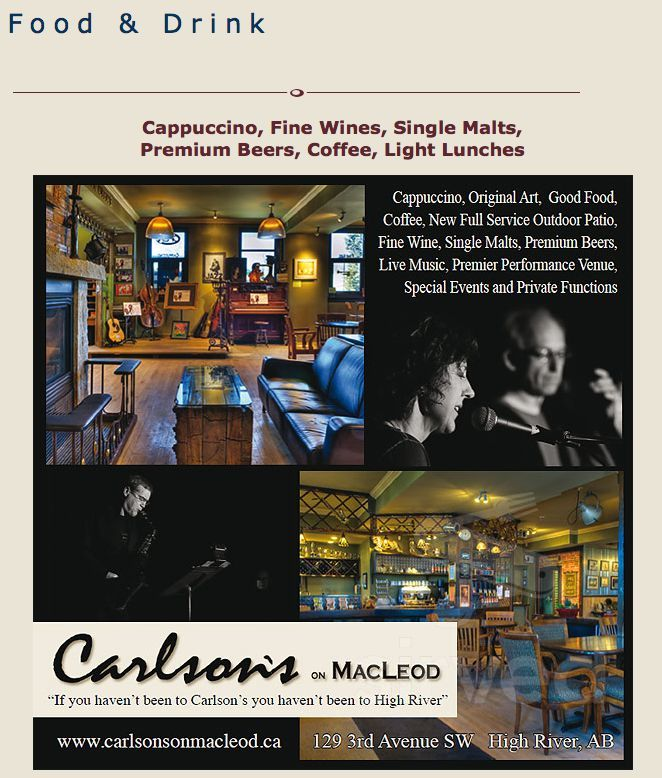 Menu for Carlson's on Macleod in High River, Alberta, Canada