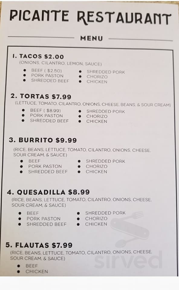 Picante Restaurant Menu In Huron South Dakota Usa