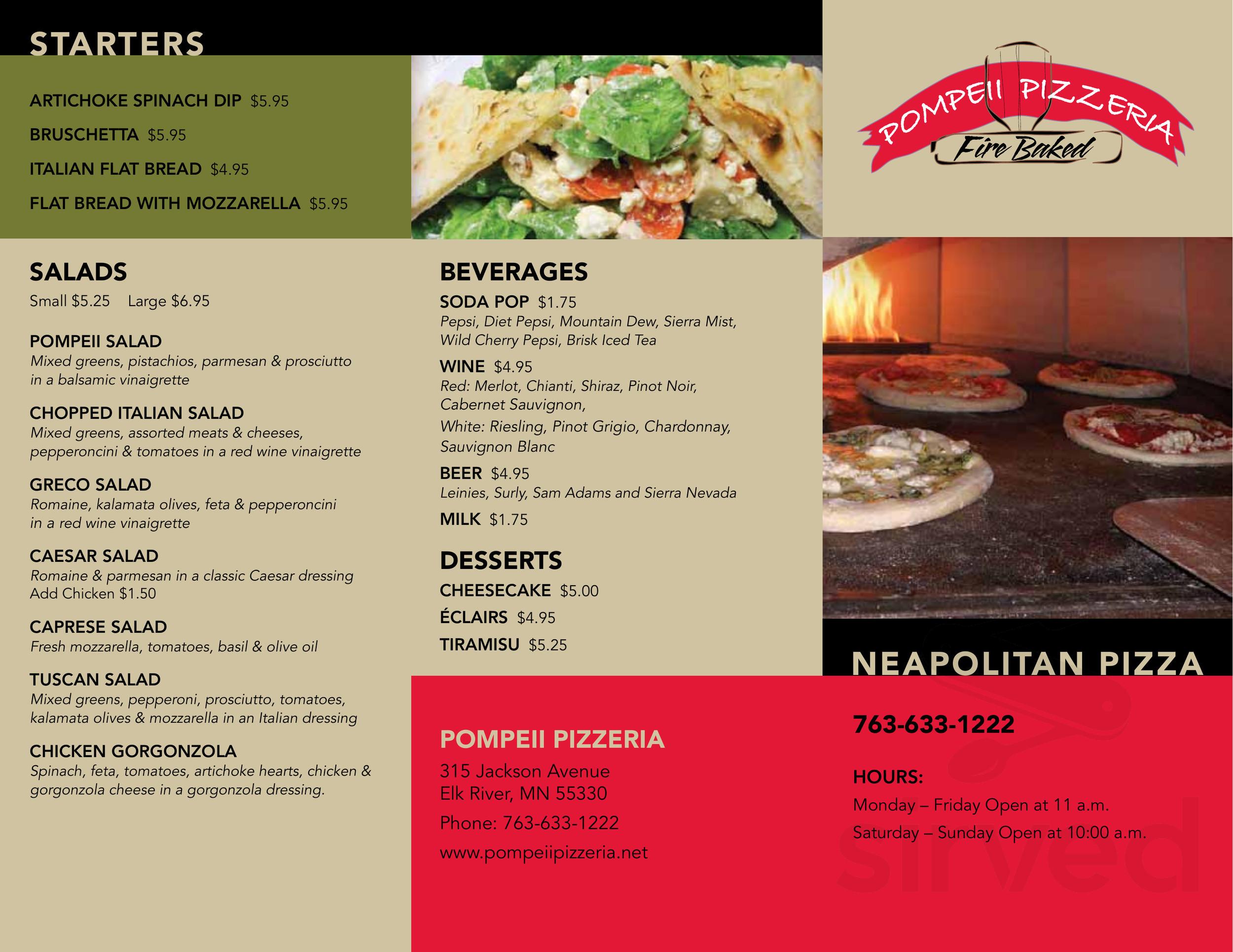 Menu For Pompeii Pizzeria In Elk River Minnesota Usa