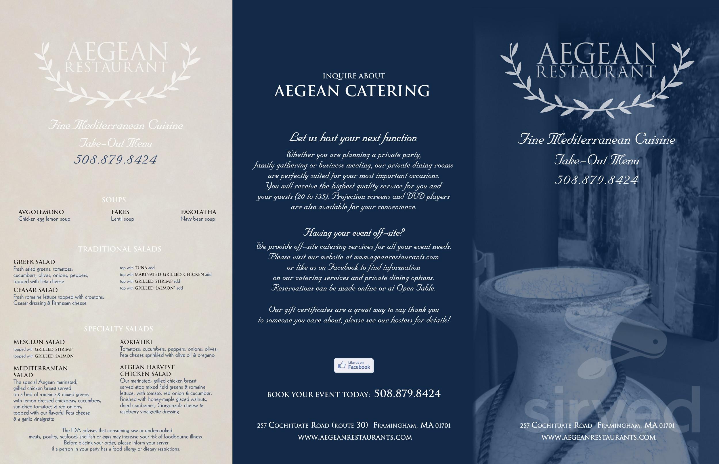 Menu For Aegean Restaurant In Framingham Massachusetts