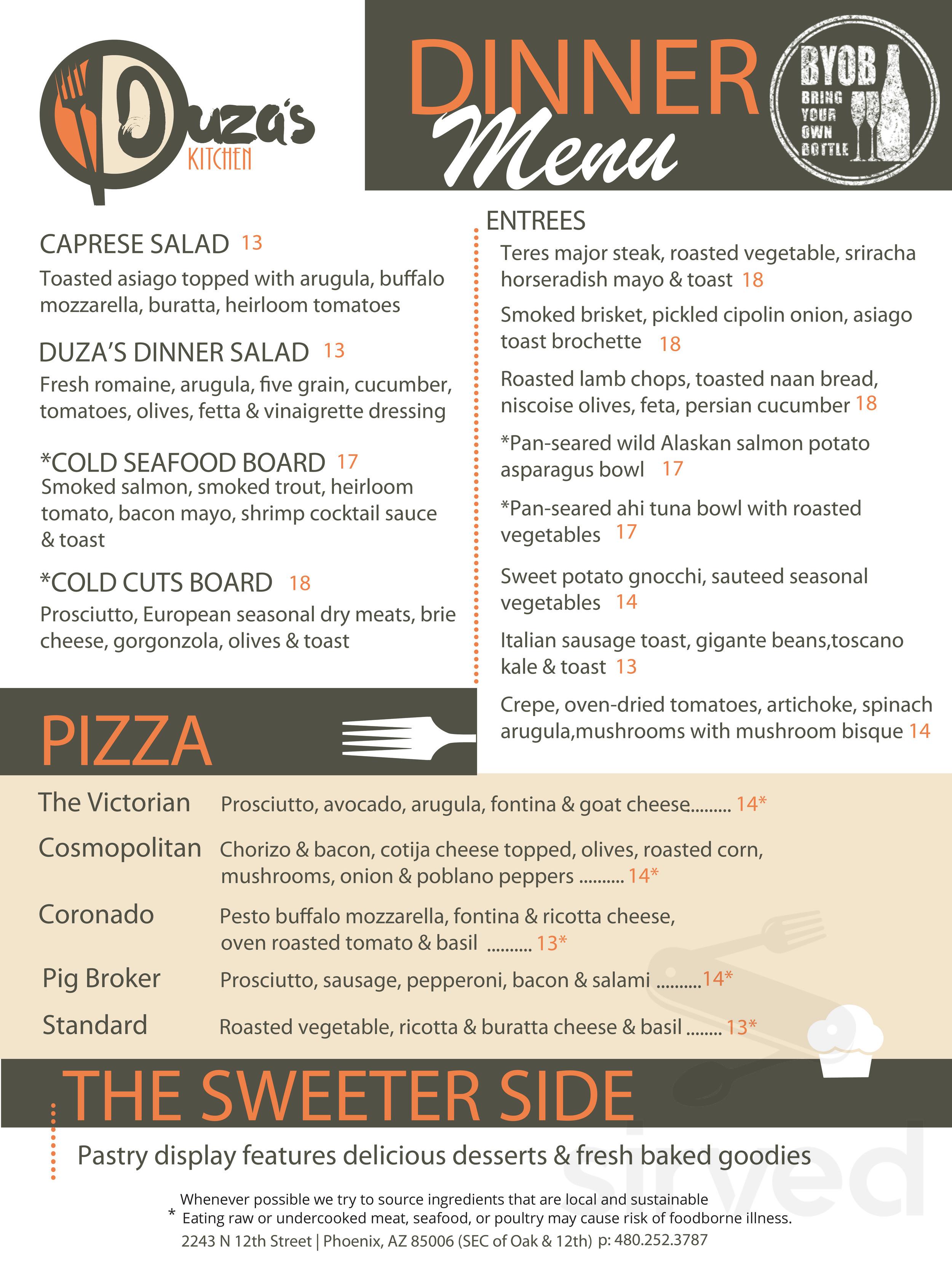 Menu For Duza S Kitchen In Phoenix Arizona Usa