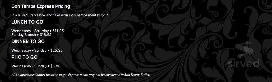 Astonishing Menu For Bon Temps Buffet In Baton Rouge Louisiana Usa Interior Design Ideas Jittwwsoteloinfo