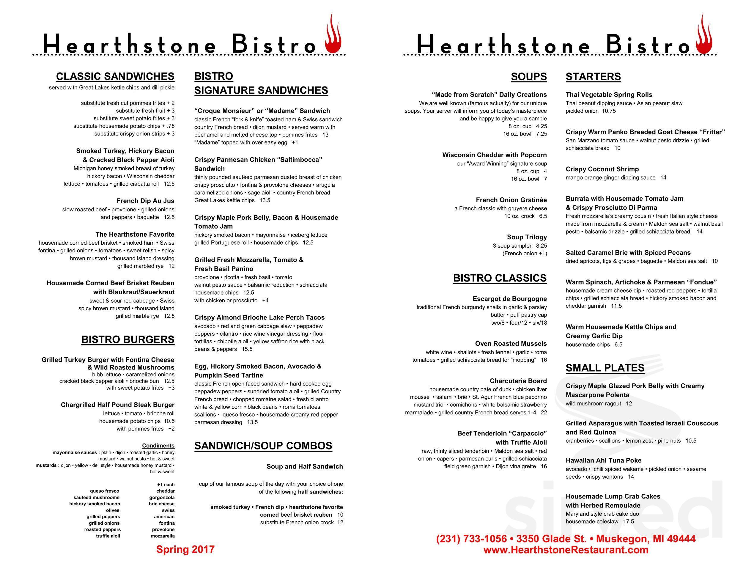 Menu for Hearthstone Bistro in Muskegon, Michigan, USA