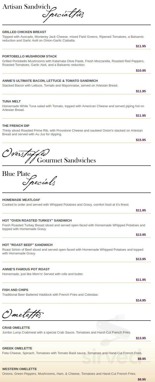 Menu for Annie's Paramount Steak & Seafood House in