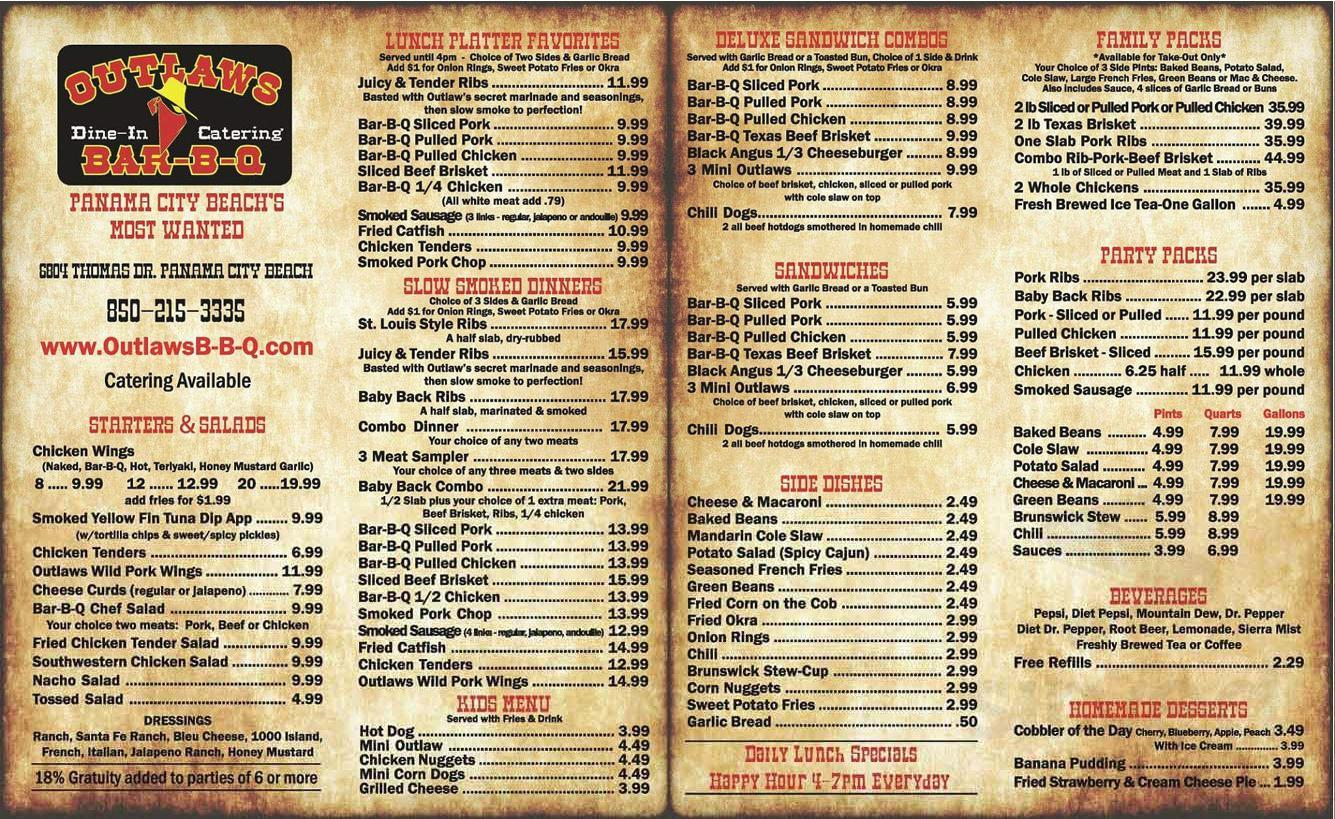 Outlaws Bar B Que Menu In Panama City Beach Florida Usa
