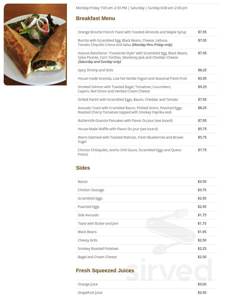 Milk & Honey Cafe menu in Chicago, Illinois, USA