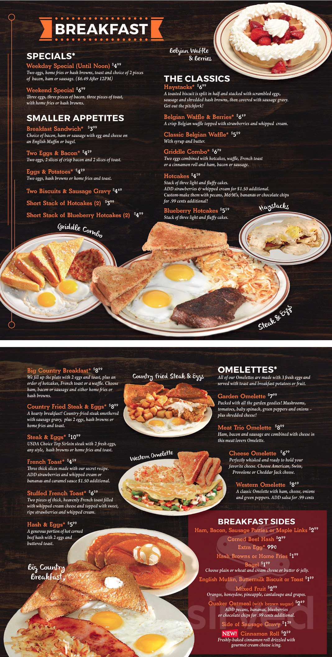 Menu For Valley Dairy Restaurant In Cranberry Pennsylvania