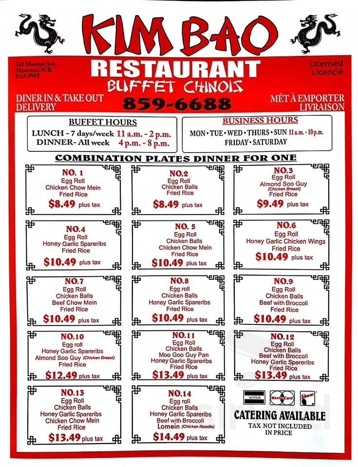 Kimbao Chinese Buffet Menu In Moncton New Brunswick Canada