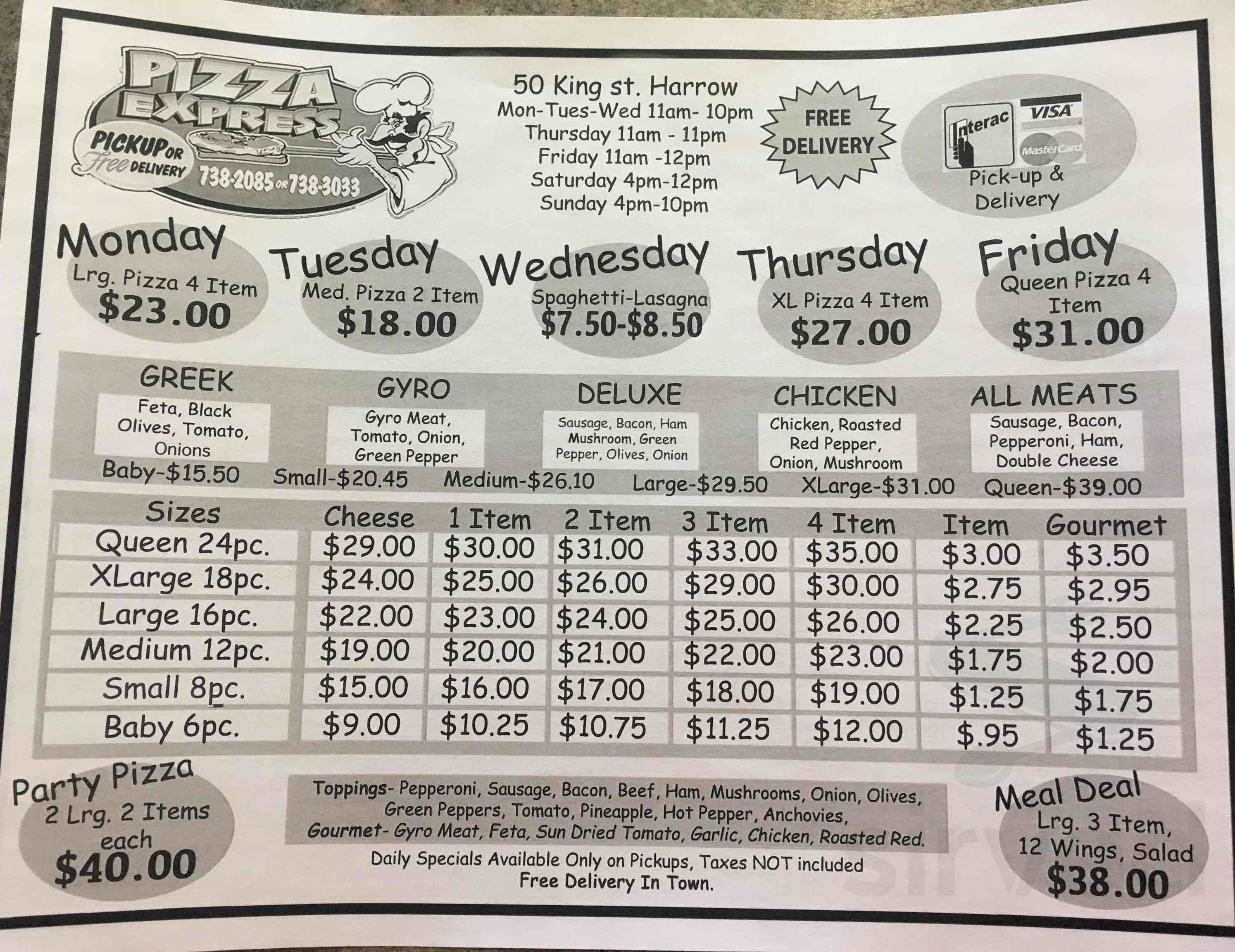 Pizza Express Menu In Harrow Ontario Canada
