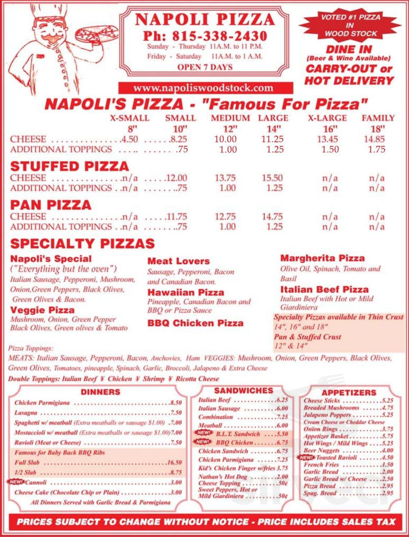 Napoli Pizza Place Menu In Woodstock Illinois Usa